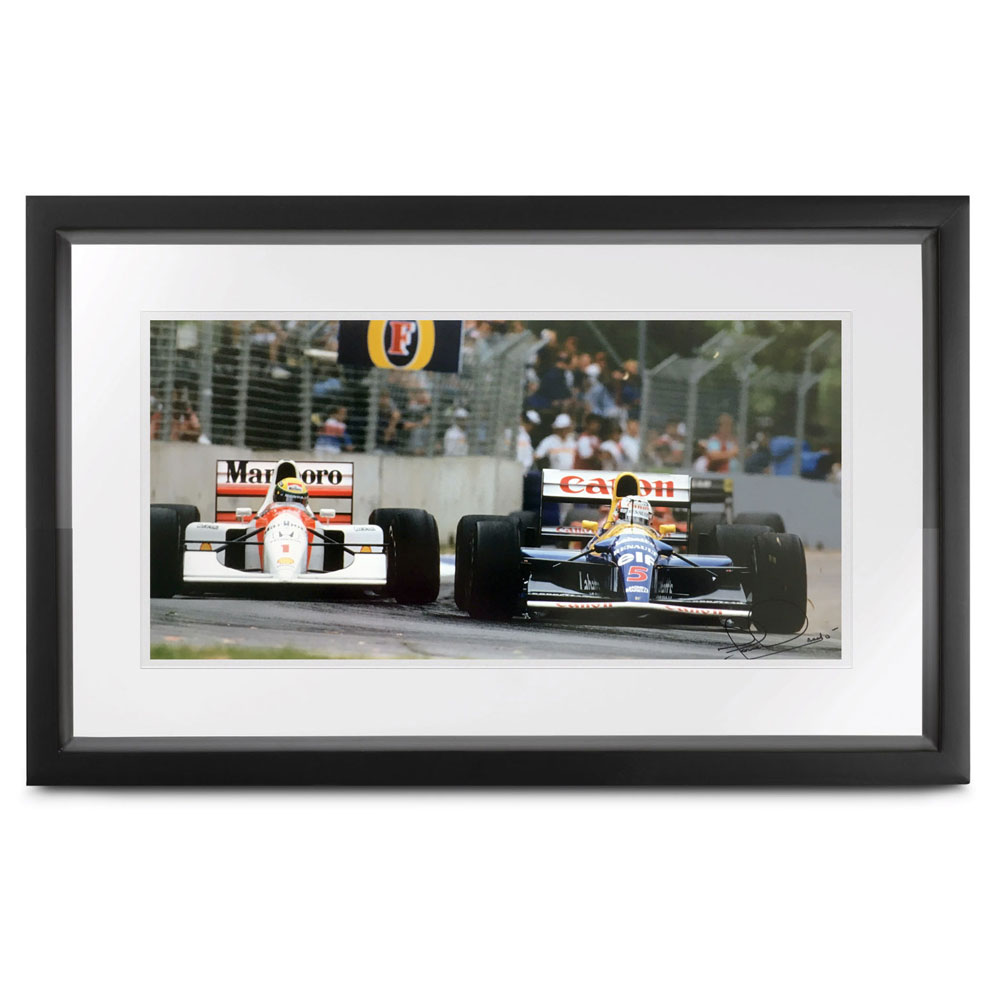 Product image for Senna vs Mansell by John Townsend, signed Nigel Mansell