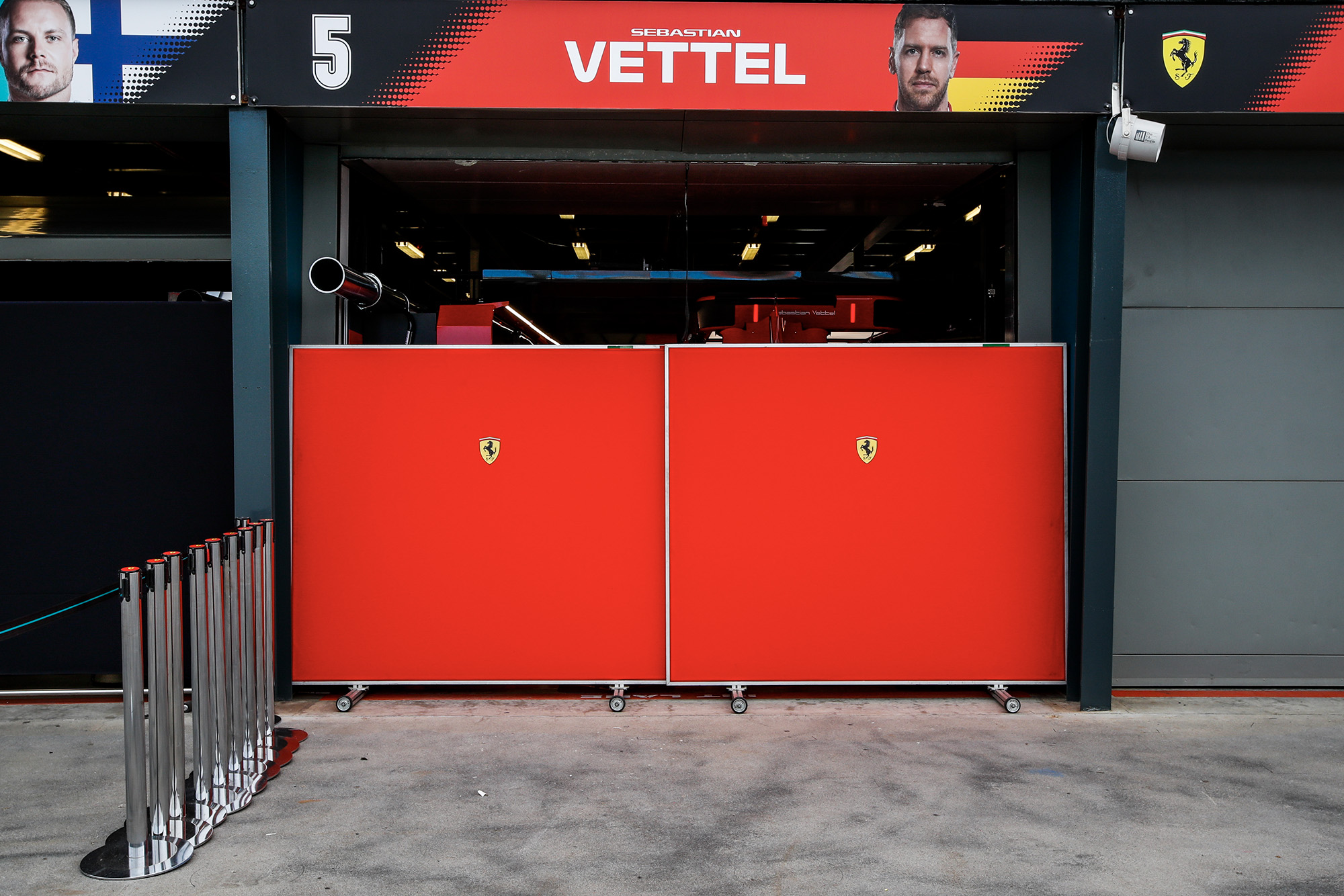 Boards up outside Sebastian Vettel's pit garage after the cancellation of the 2020 F1 Australian Grand Prix