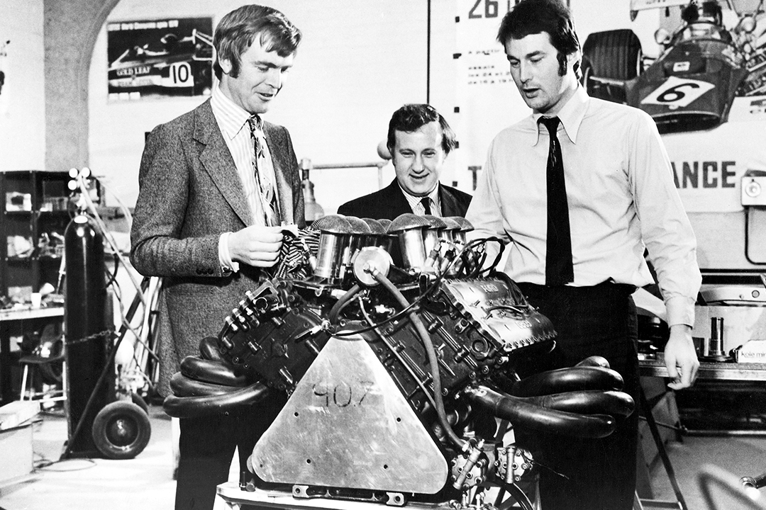 Max Mosley, Alan Rees and robin Herd with the Ford Cosworth V8 engine ahead of the 1971 F1 season