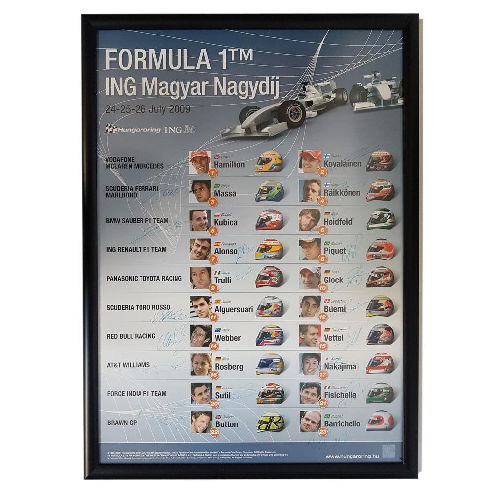 Product image for Formula 1 ING Magyar Nagydij 24-26 July 2009 | Signed Poster