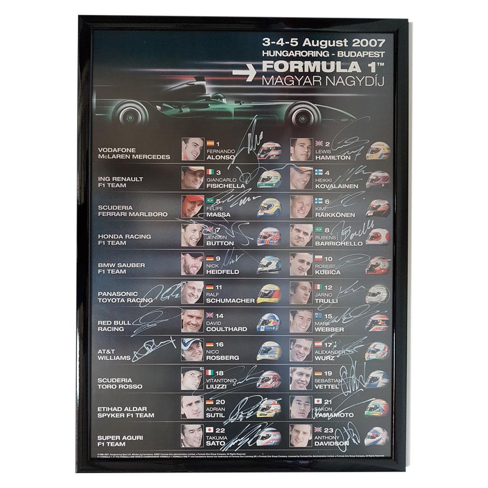 Product image for Formula 1 ING Magyar Nagydij 3-5 August 2007 | Signed Poster