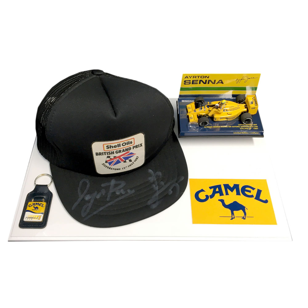 Product image for Ayrton Senna and Satoru Nakajima signed British Grand Prix cap