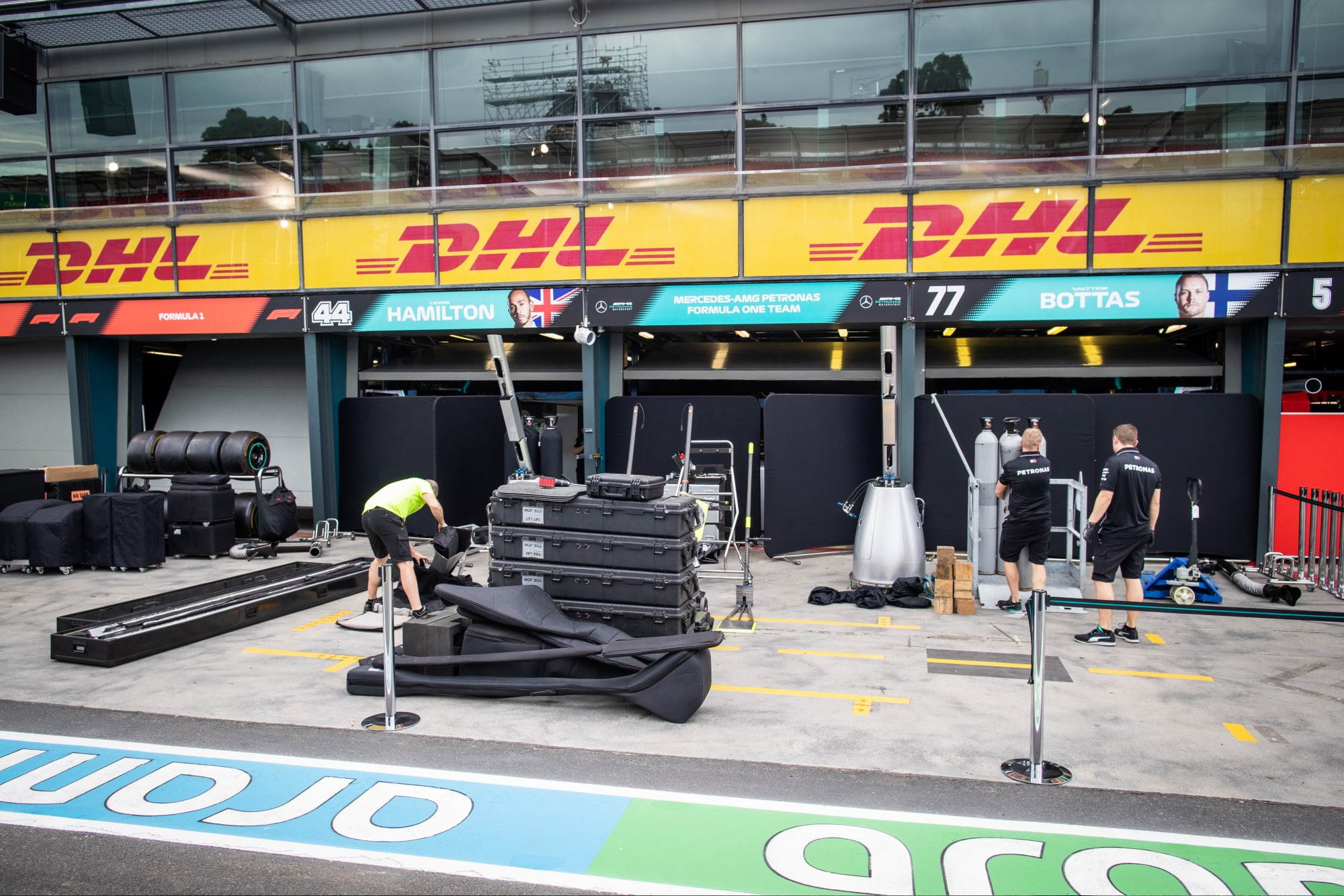Mercedes F1 team garages