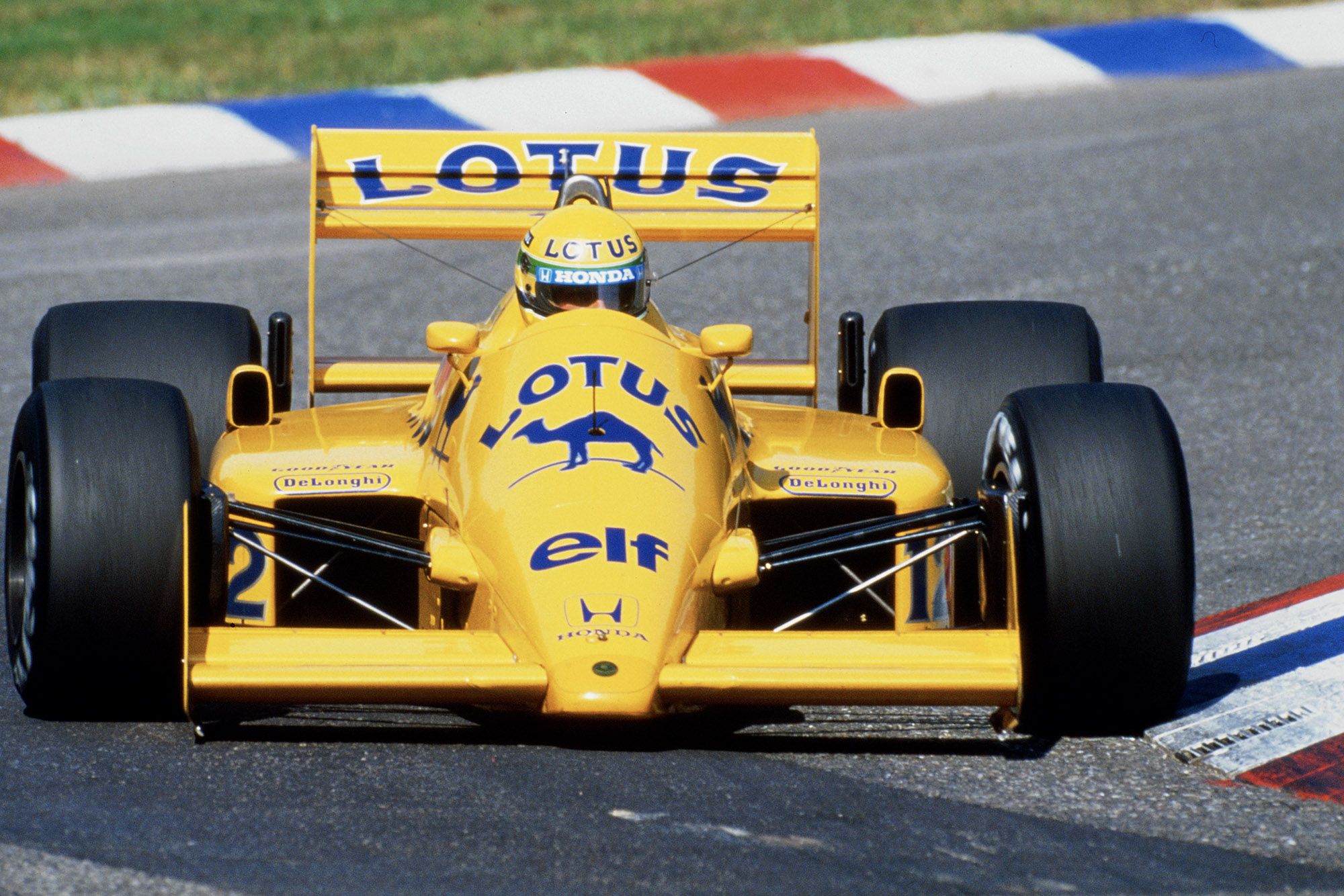 Ayrton Senna in the 1987 Lotus Honda during the German Grand Prix at Hockenheim