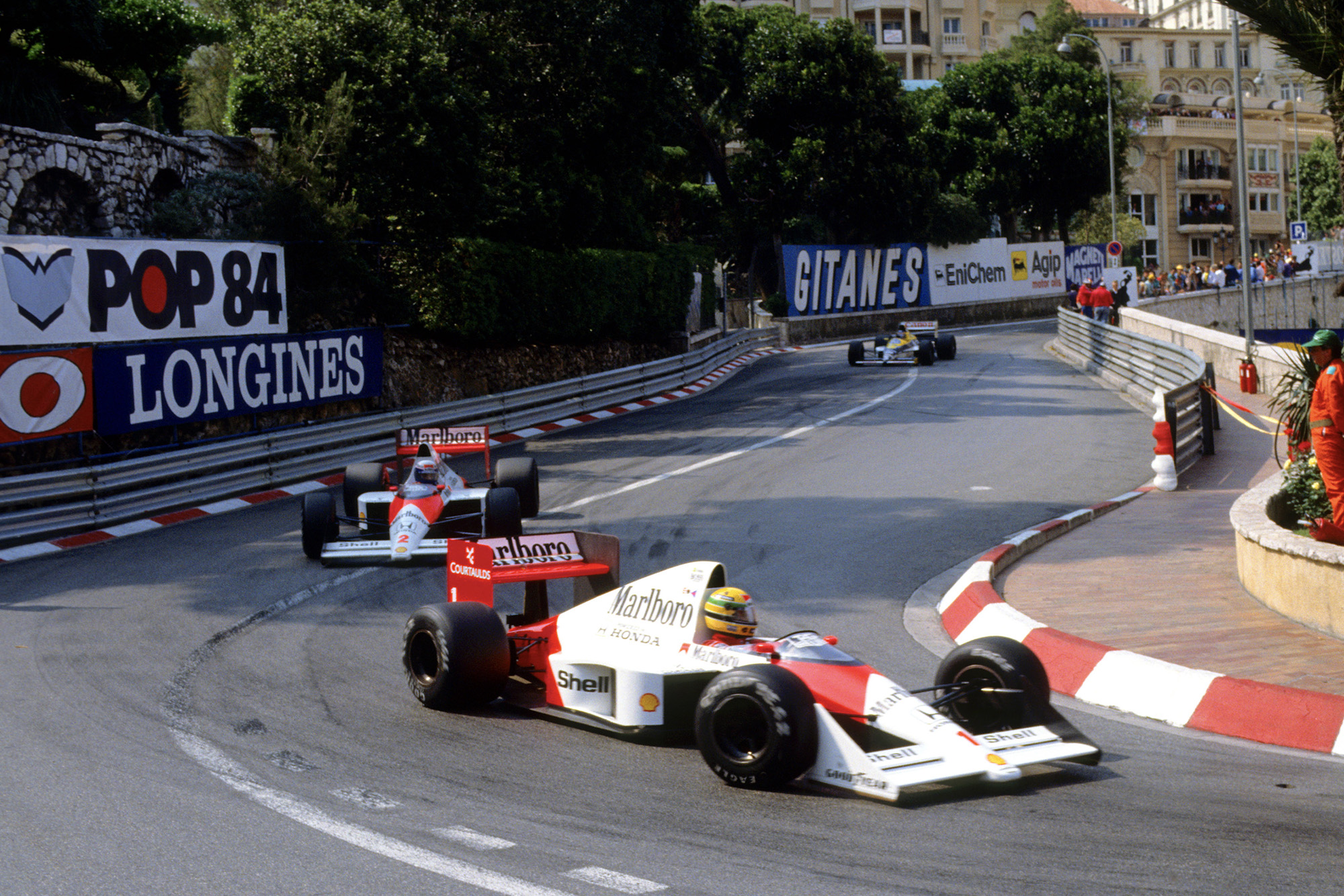 Ayrton Senna leads Alain Prost through the Loews hairpin during the 1989 Monaco Grand Prix