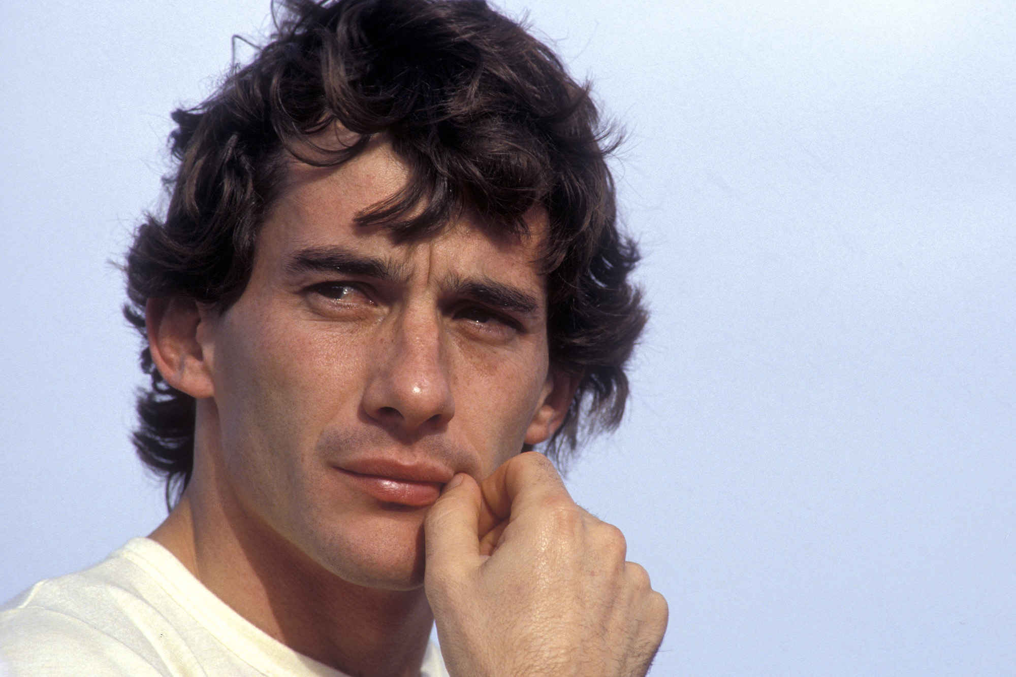 Portrait of Ayrton Senna at the 1990 Spanish Grand Prix