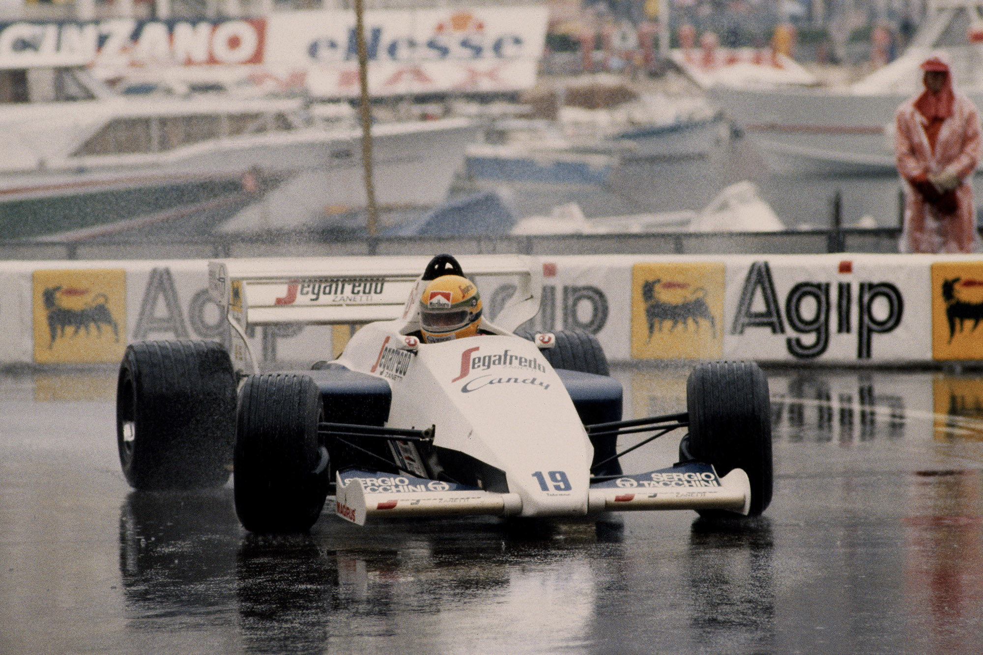 Senna chases down Prost in. his Toleman at the 1984 Monaco Grand Prix
