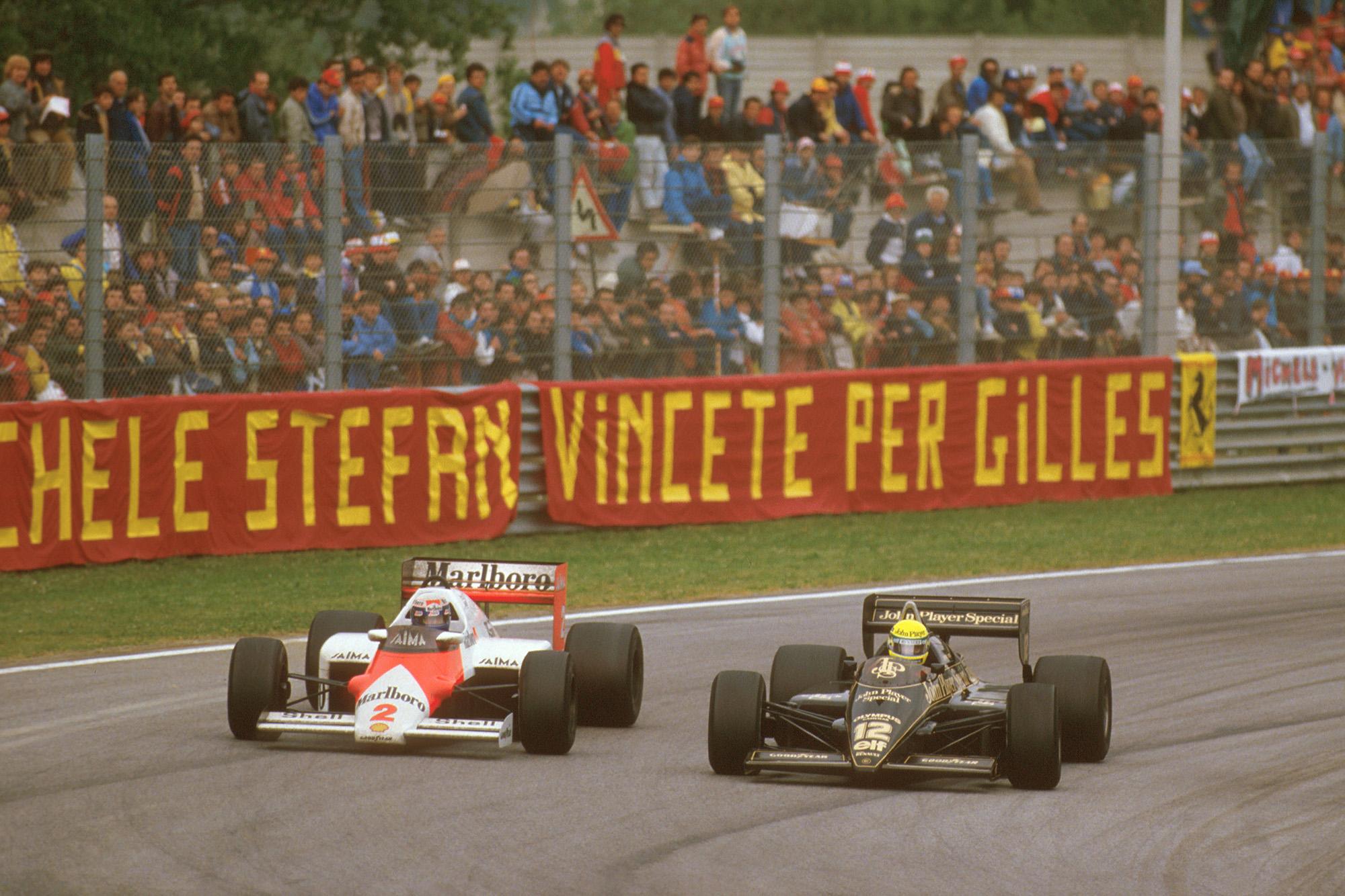 Alain Prost overtakes Ayrton Senna in the 1985 San Marino Grand Prix