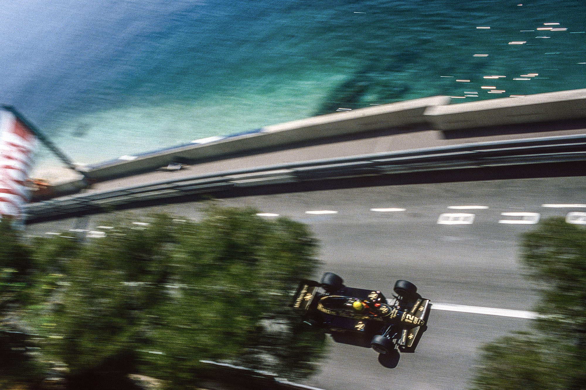9. Ayrton Senna on the seafront during the 1985 Monaco Grand Prix