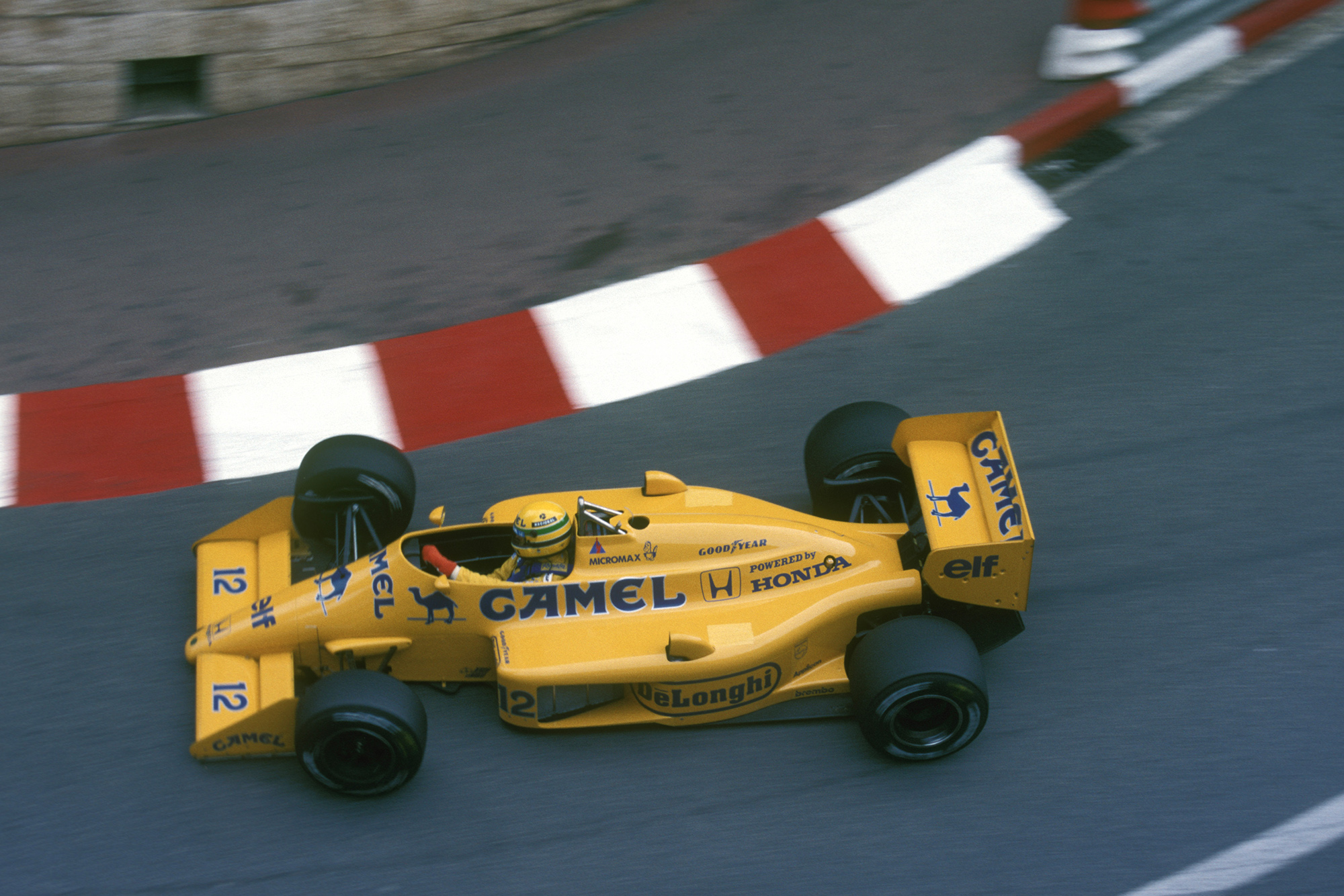 Ayrton Senna during the 1987 Monaco Grand Prix