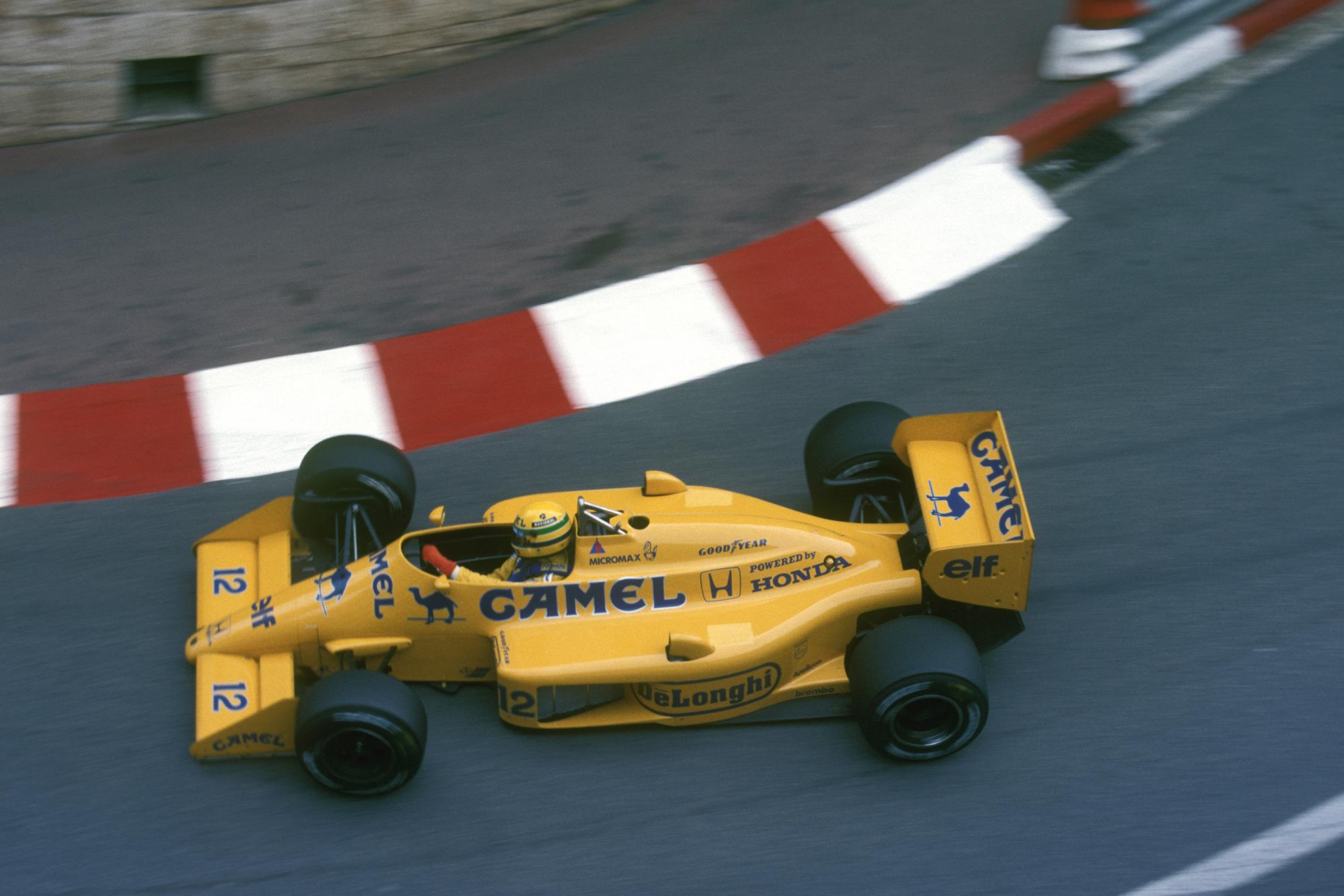 Ayrton Senna during the 1987 Monaco Grand Prix