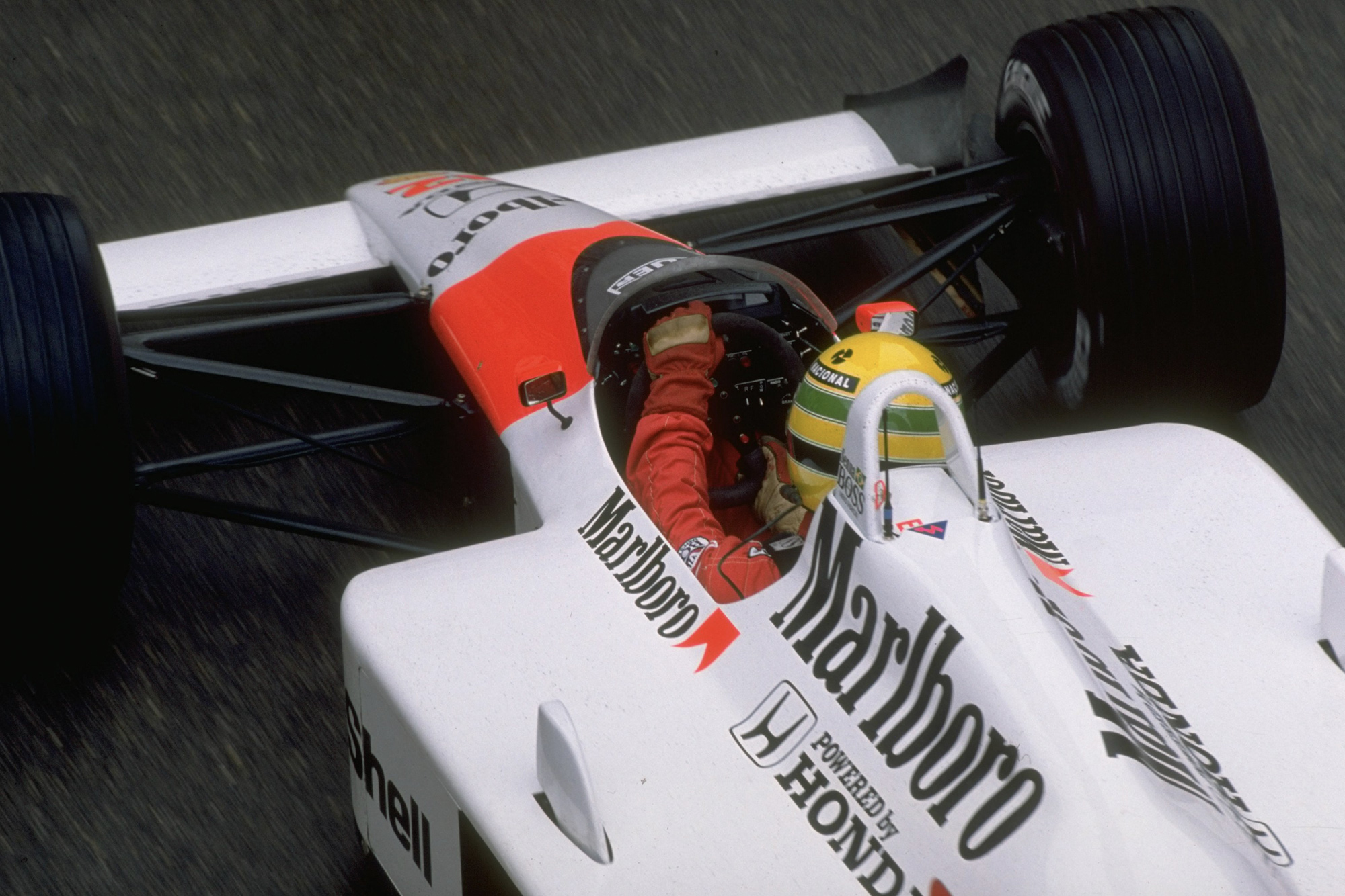 Overhead view of Ayrton Senna at the 1988 Monaco Grand Prix Getty