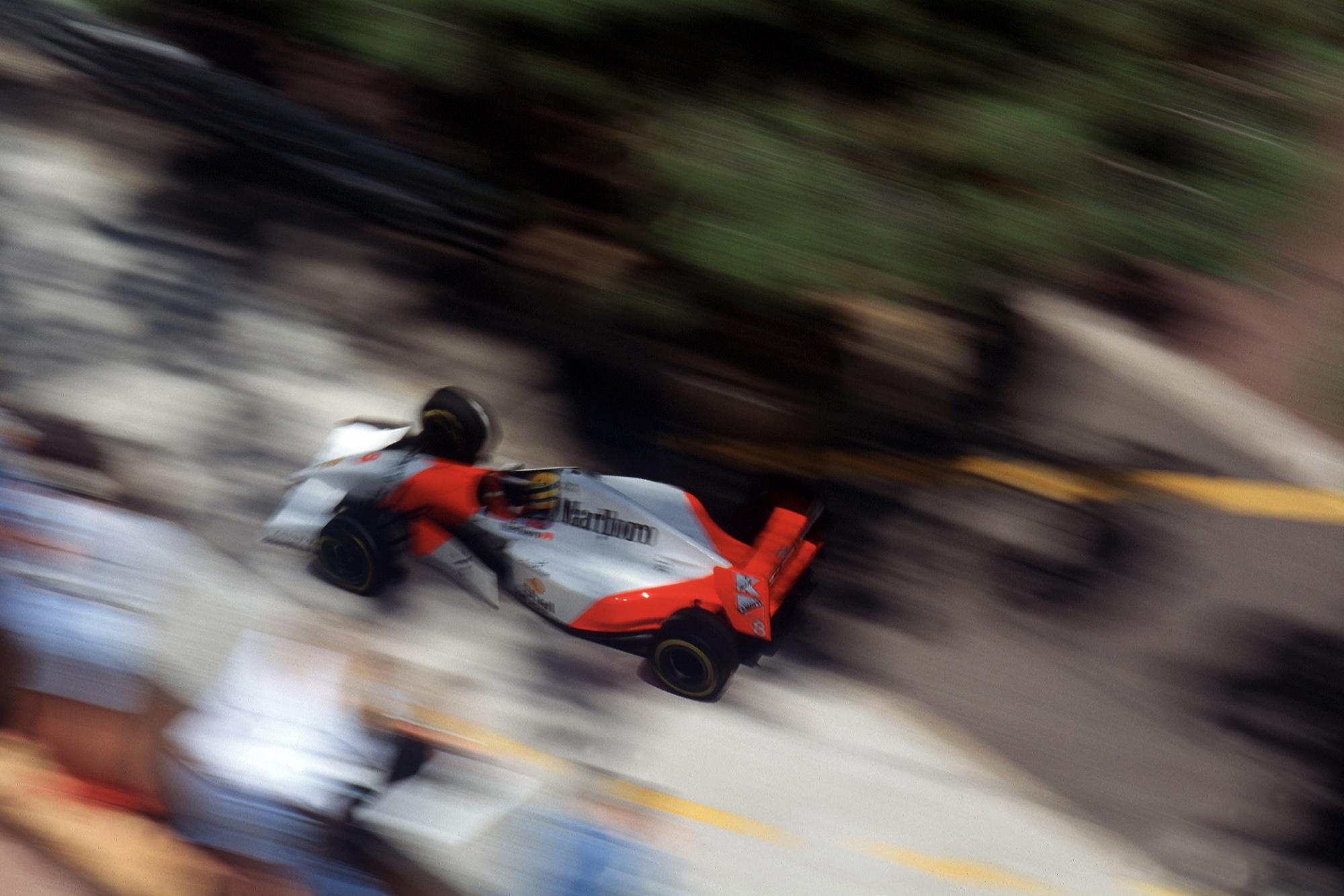 Overhead shot of Ayrton Senna at the 1993 Monaco Grand Prix