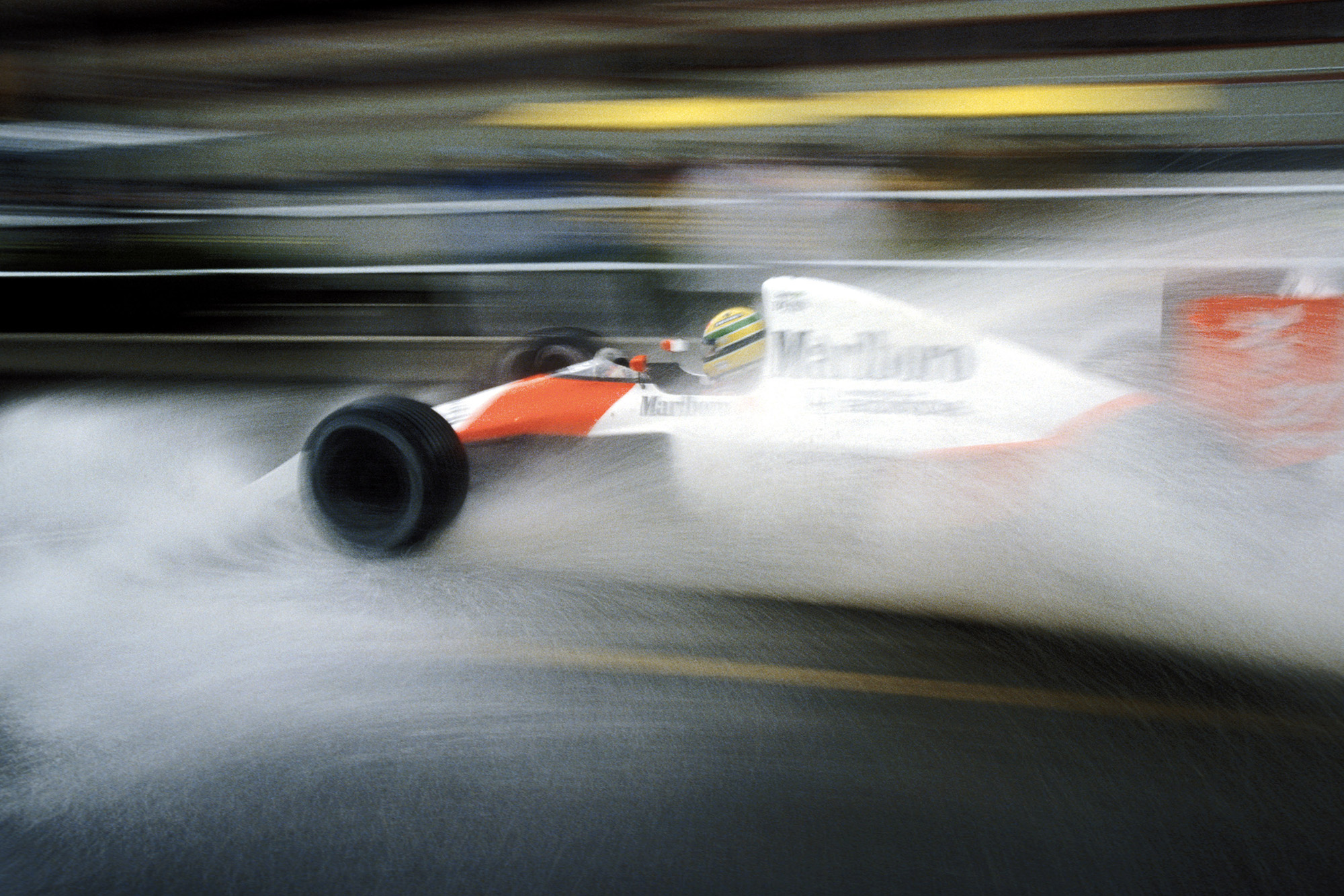 Ayrton Senna in the rain at the 1990 US Grand Prix in Phoenix