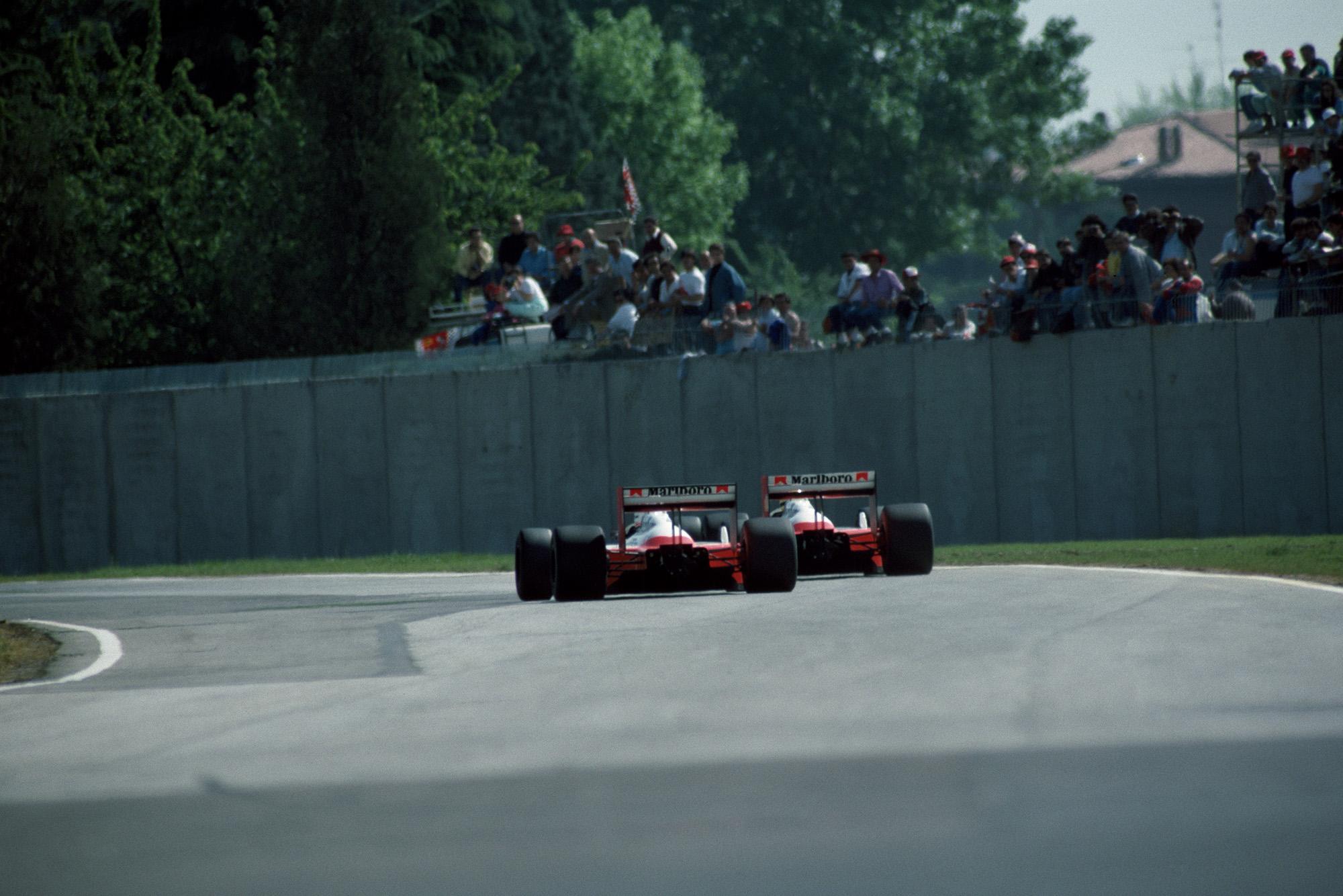 Rear shot of Ayrton Senna and Alain Prost's McLarens at Imola