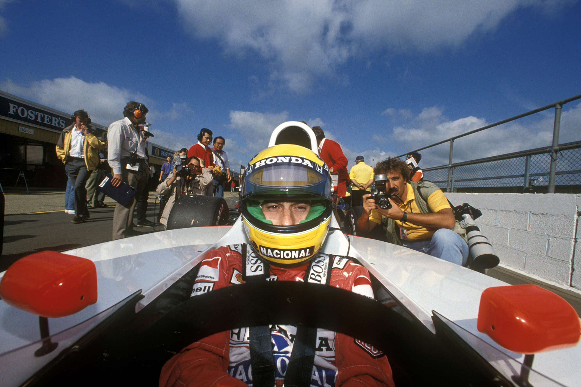 Ayrton Senna in his McLaren Honda ahead of the 1990 British Grand Prix