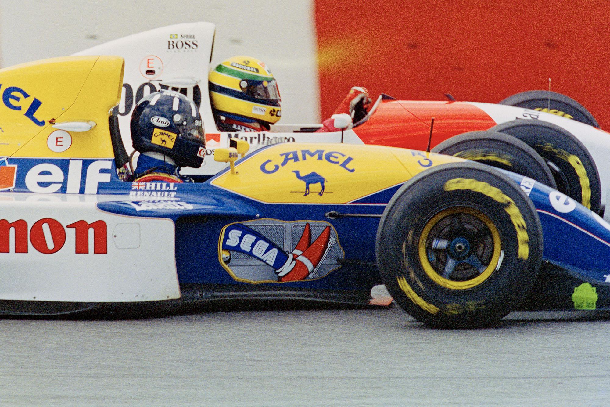 Ayrton Senna alongside Damon Hill at the 1993 Brazilian Grand Prix