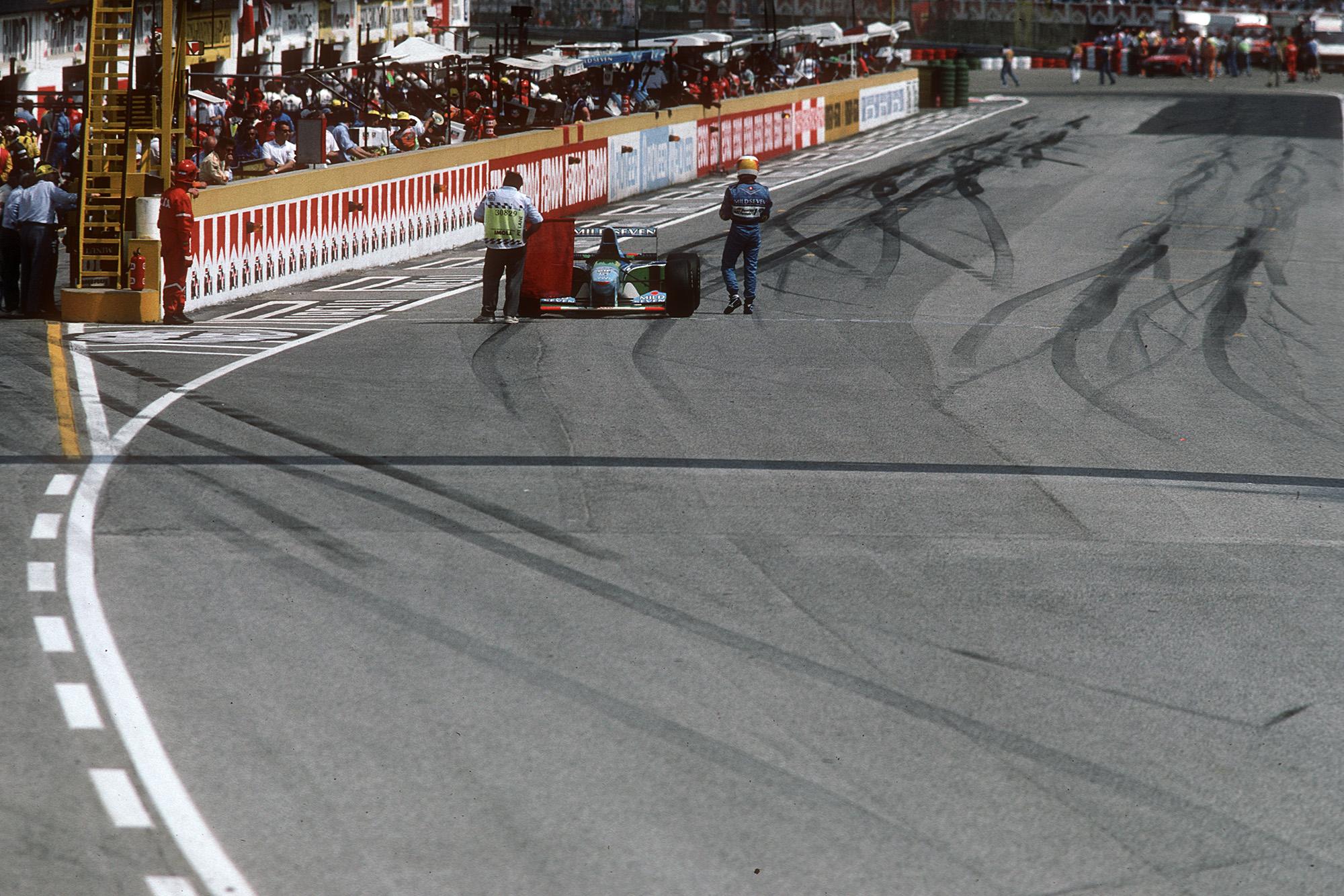 The 1994 San Marino Grand PRix is stopped after Ayrton Senna's crash