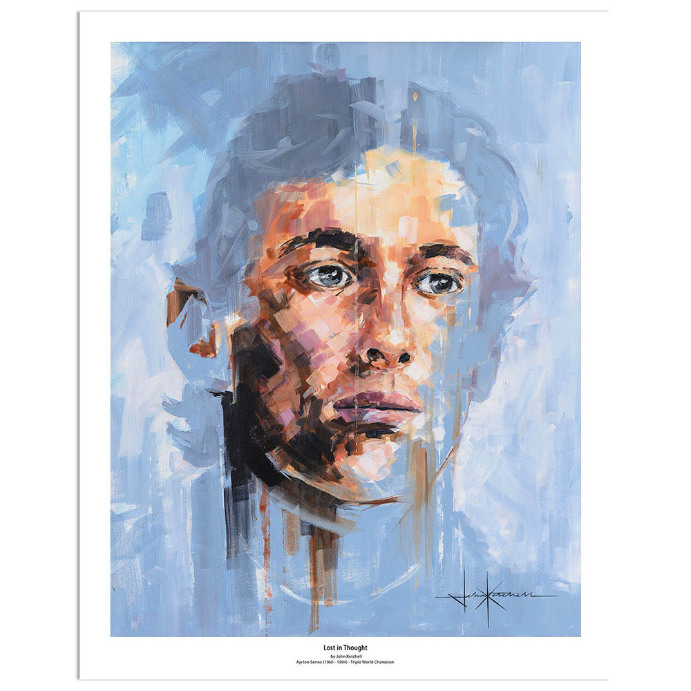 Product image for Lost in Thought | Ayrton Senna Formula One | Art Print