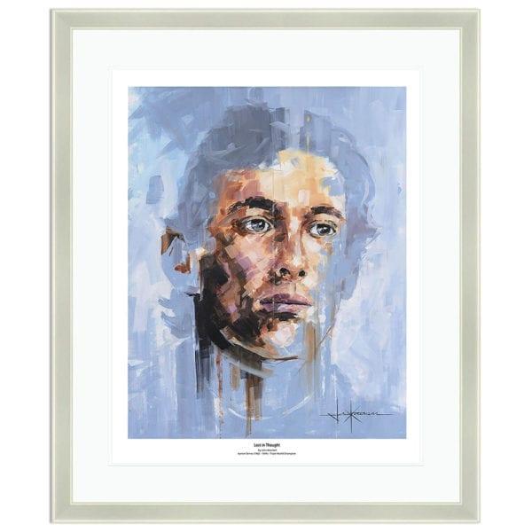 Frame portrait print of Ayrton Senna by artist John Ketchell