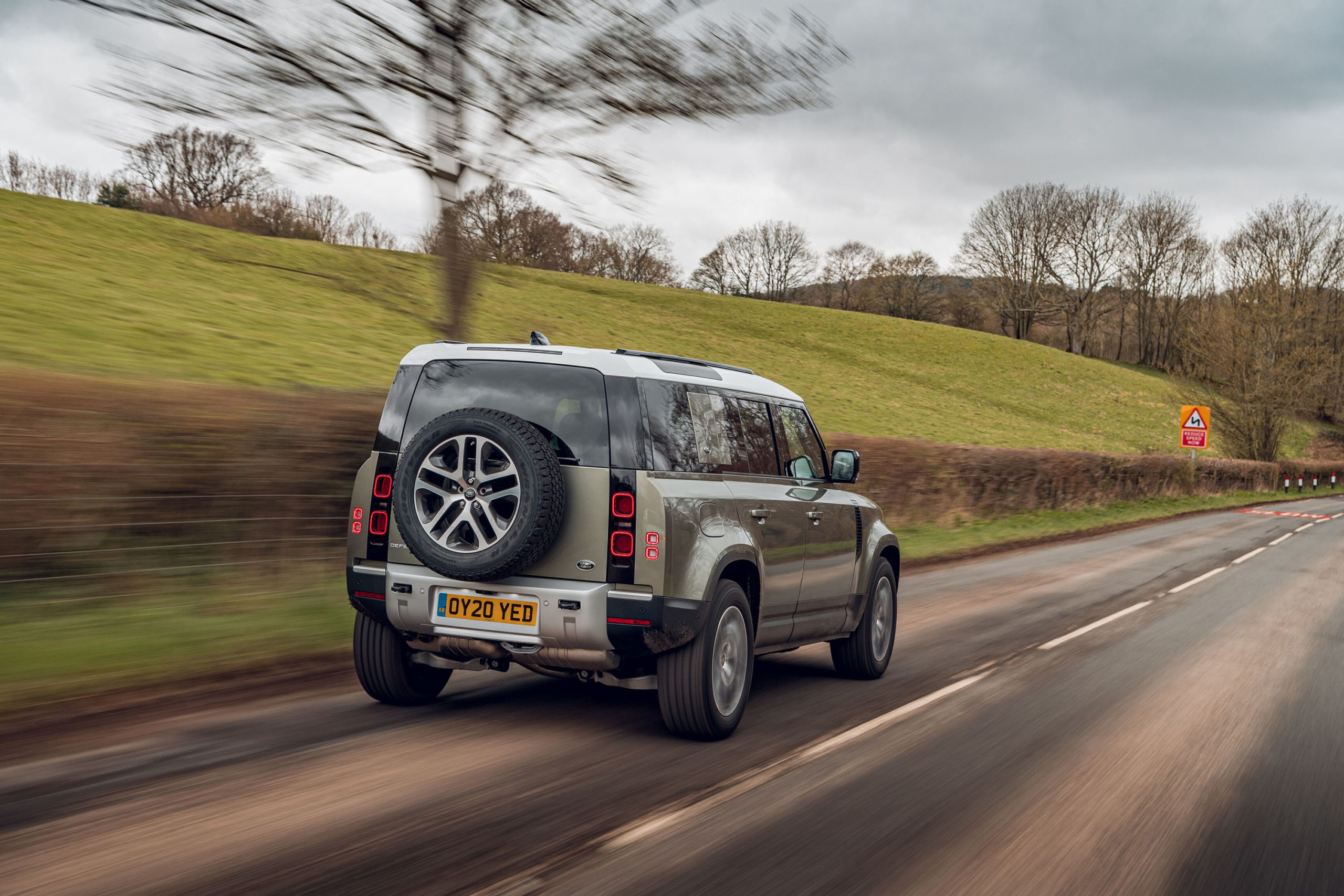 2020-Land-Rover-Defender-on-road-rear-scaled
