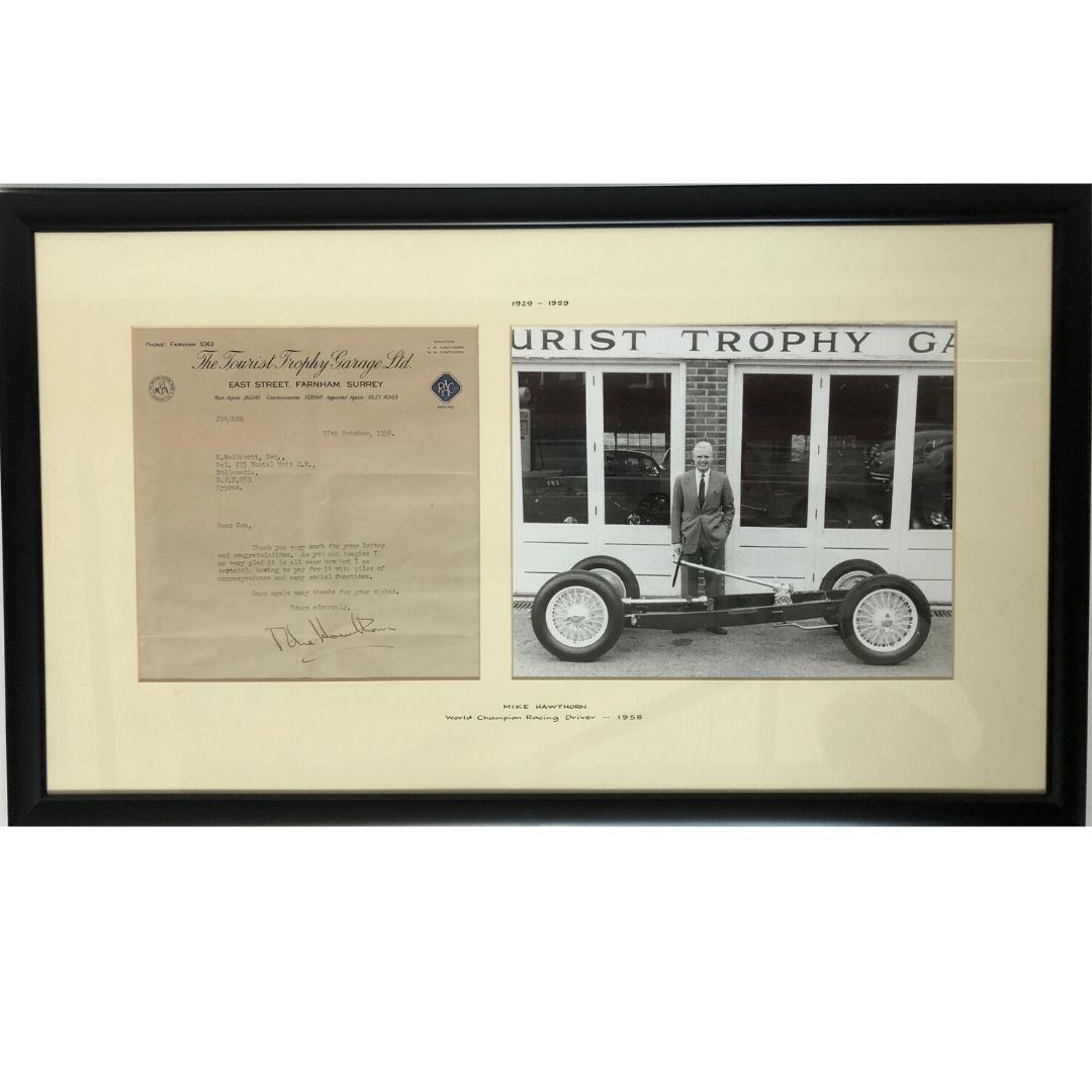 Product image for Mike Hawthorn Tourist Trophy Garage | Signed Letter