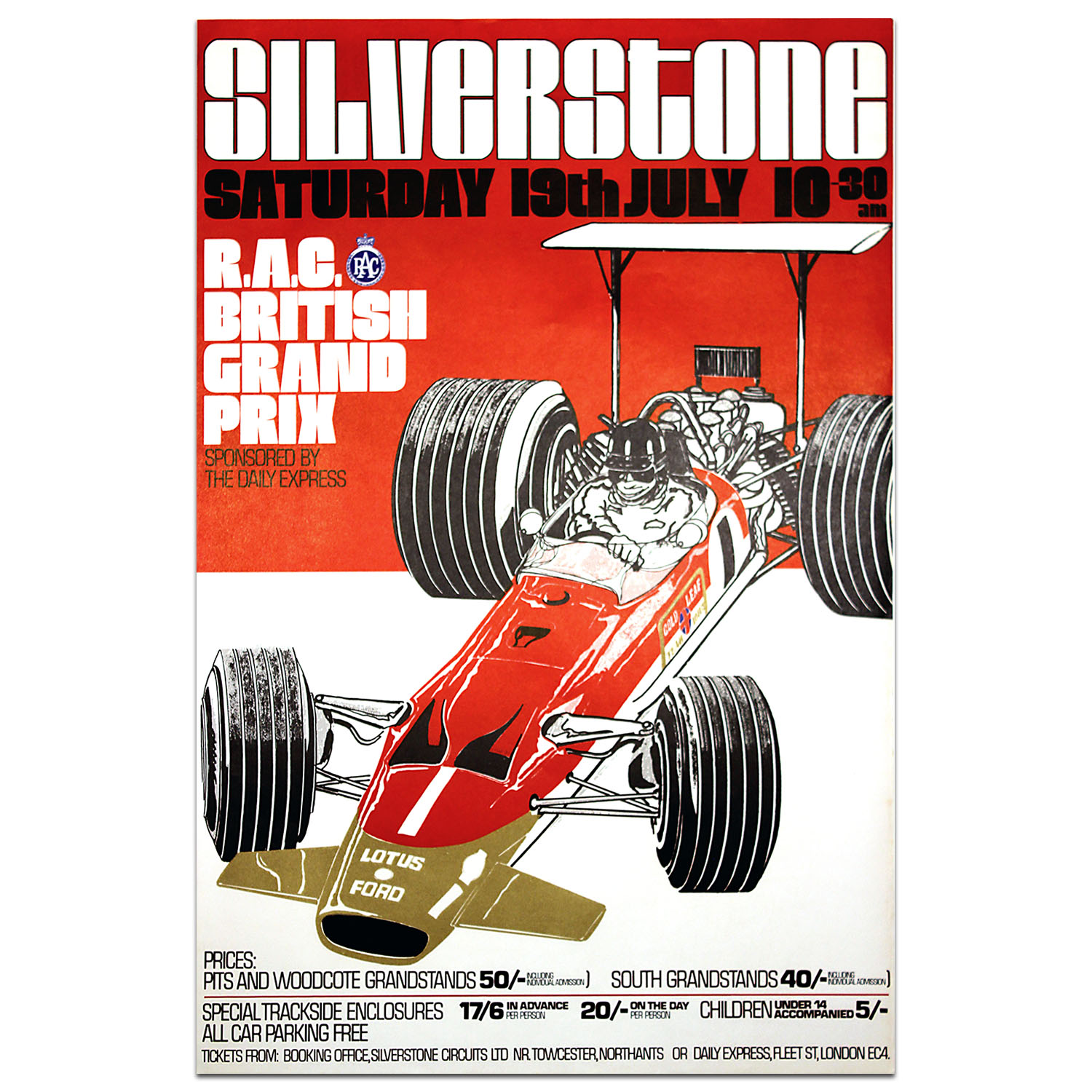 Product image for British Grand Prix 1969 Silverstone Poster