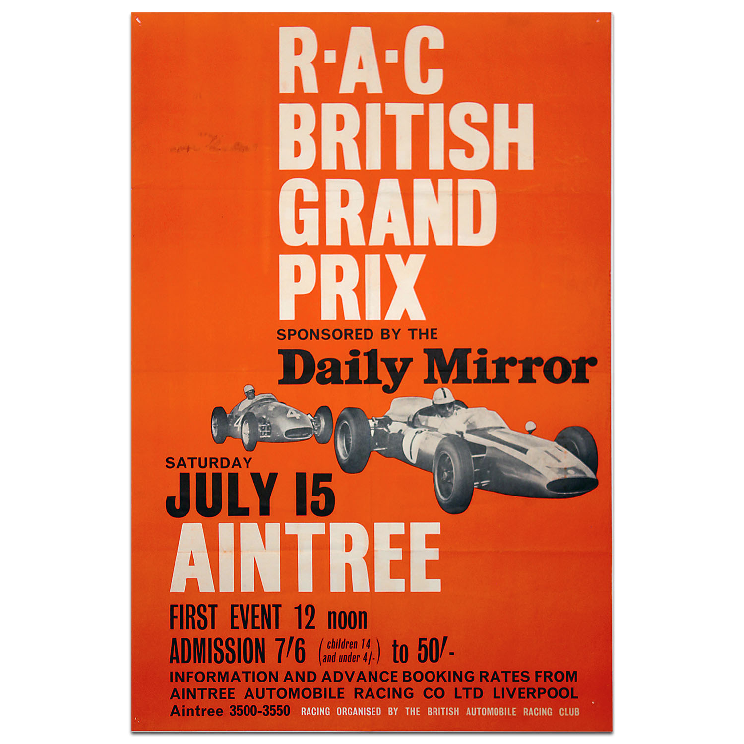 Product image for British Grand Prix 1961 Aintree Poster