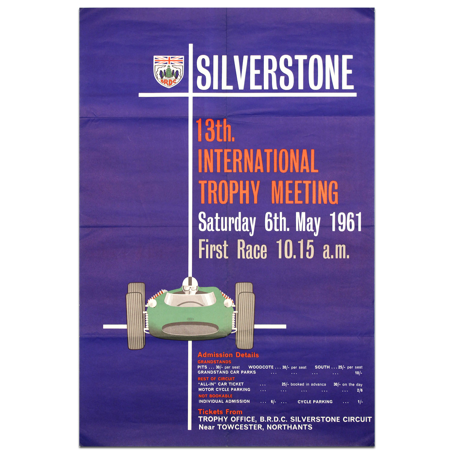 Product image for British International Trophy Race 1961 Silverstone Poster