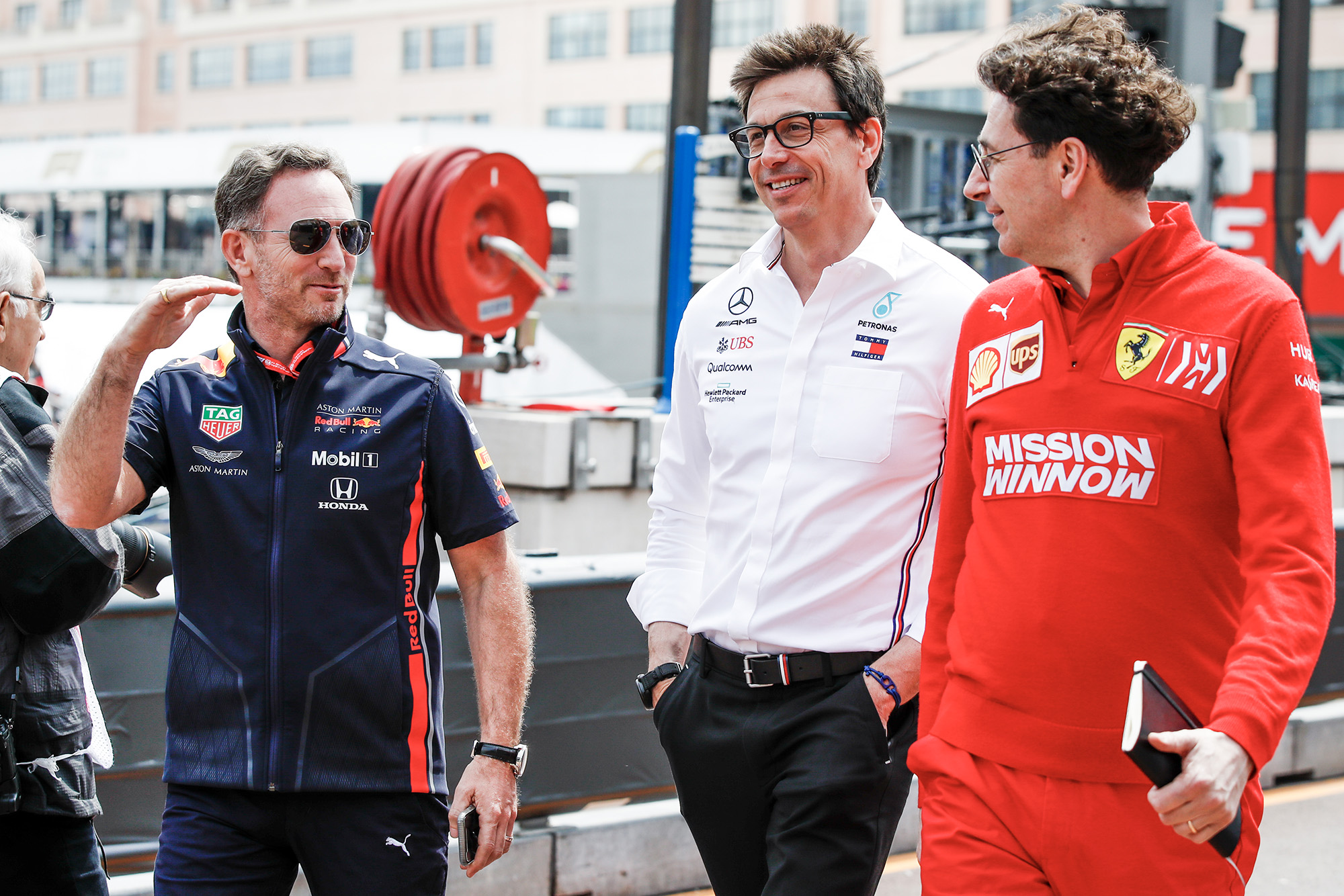 Christian Horner, Toto Wolff and Mattia Binotto at the 2019 Monaco Grand Prix