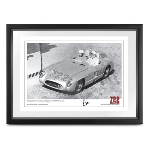 photograph capturing Stirling Moss and Denis 'Jenks' Jenkinson in the 722 Mercedes-Benz 300 SLR (W196S), winning the 1955 Mille Miglia, signed by stirling moss
