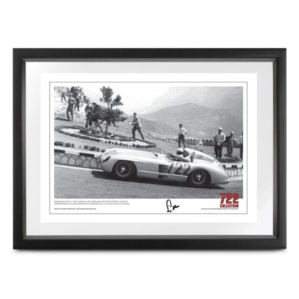 a photograph capturing Sir Stirling Moss and Denis 'Jenks' Jenkinson in the 722 Mercedes-Benz 300 SLR (W196S), winning the 1955 Mille Miglia