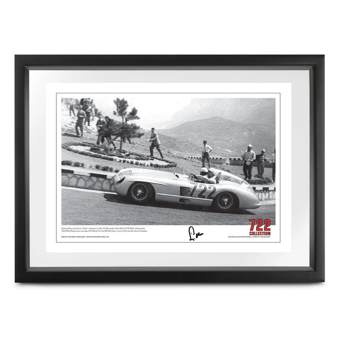 Product image for 722 'Rome to Brescia' Mille Miglia print | signed Stirling Moss