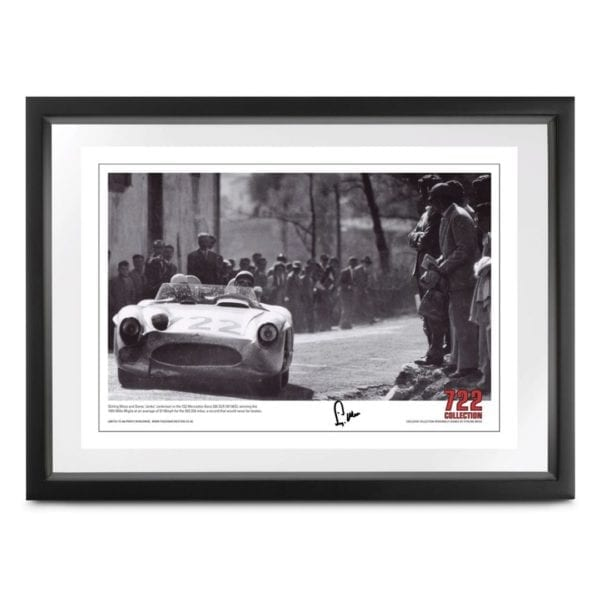 Photograph of Stirling Moss and Denis 'Jenks' Jenkinson in the 722 Mercedes-Benz 300 SLR (W196S), winning the 1955 Mille Miglia, signed by Stirling Moss