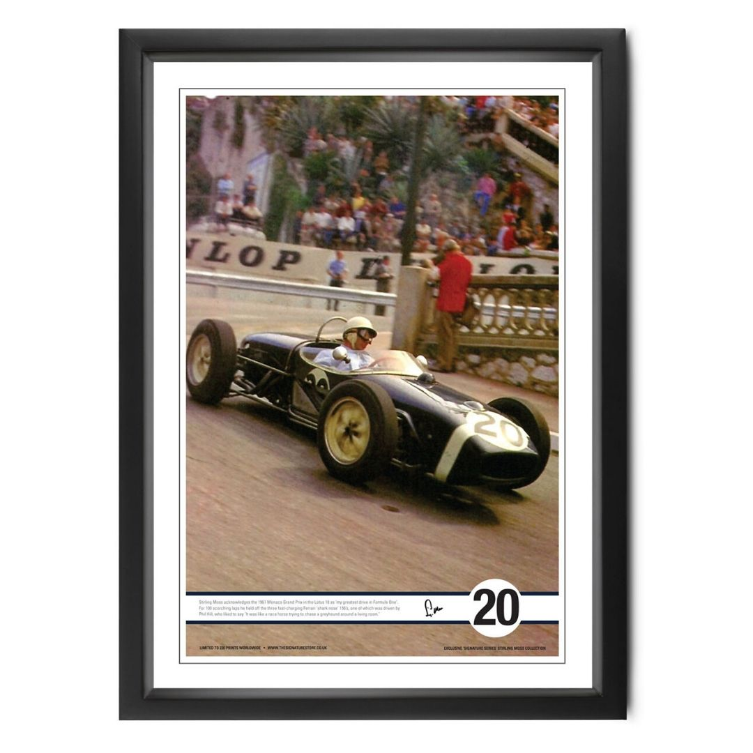 Product image for Moss at Monaco | colour print |  signed Stirling Moss