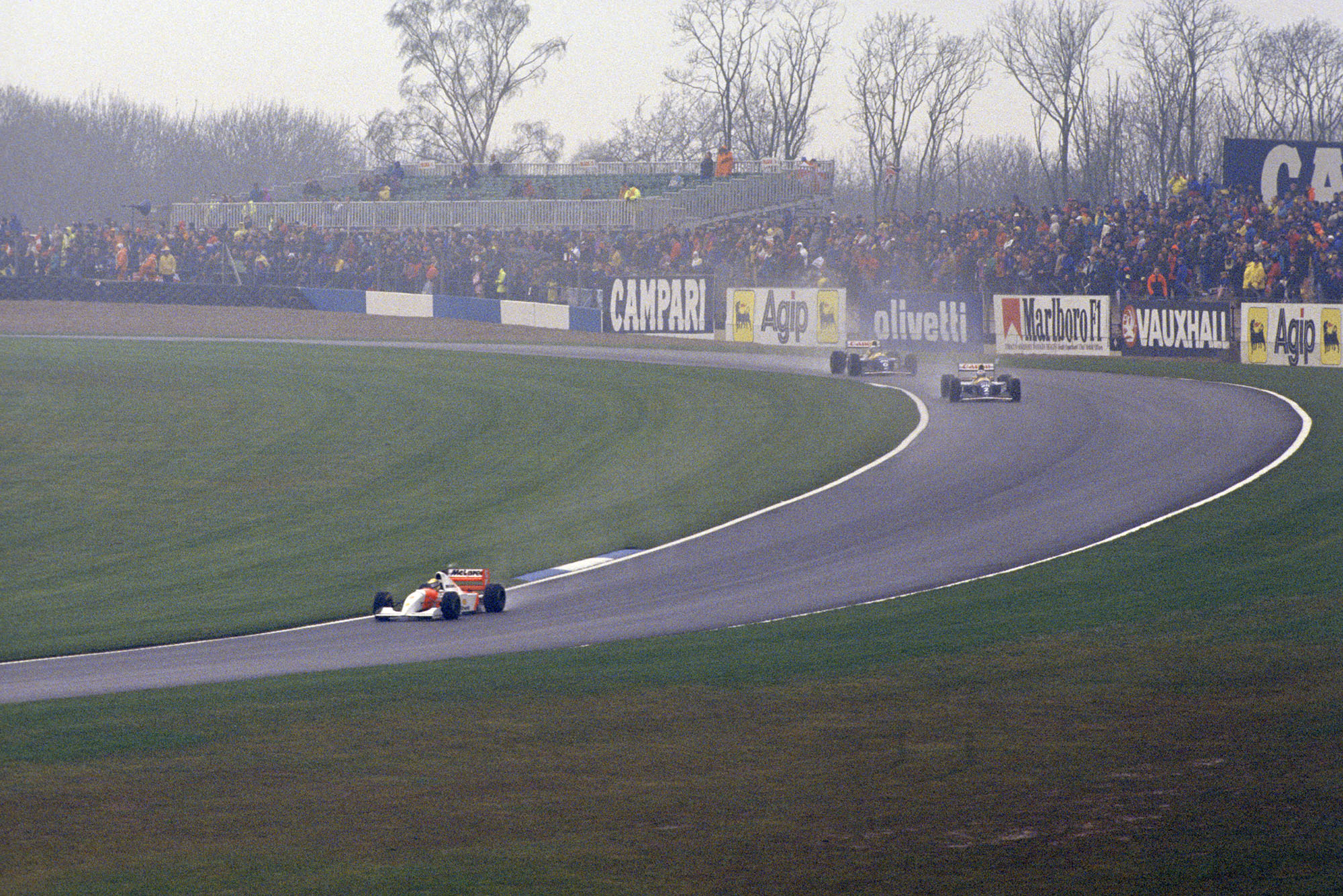 Ayrton Senna stretches his lead during the 1993 European Grand Prix at Donington