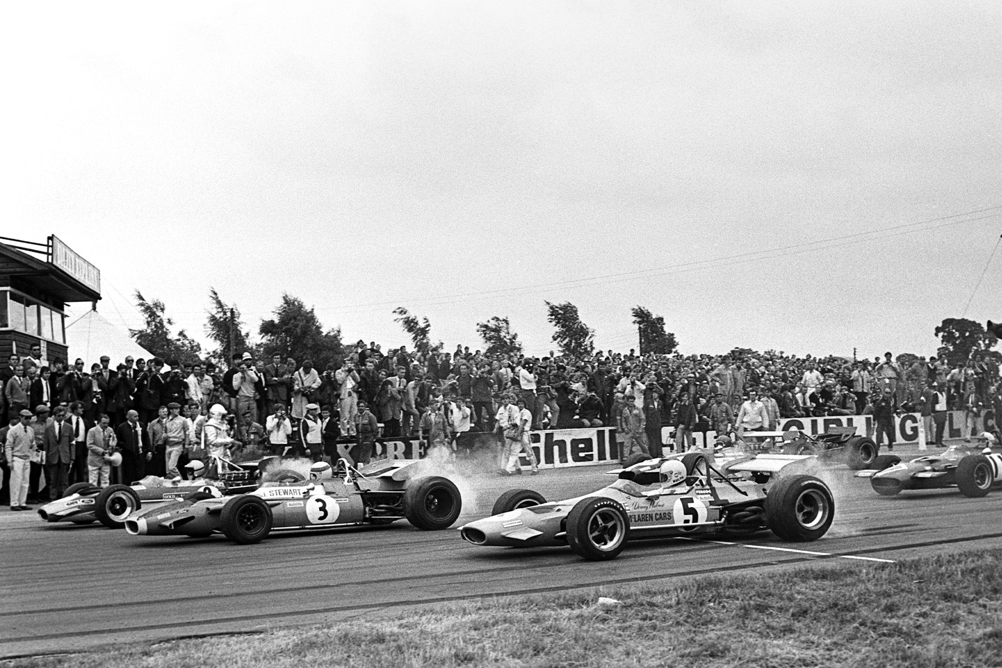 Jochen Rindt and Jackie Stewart lead in the 1969 British Grand Prix