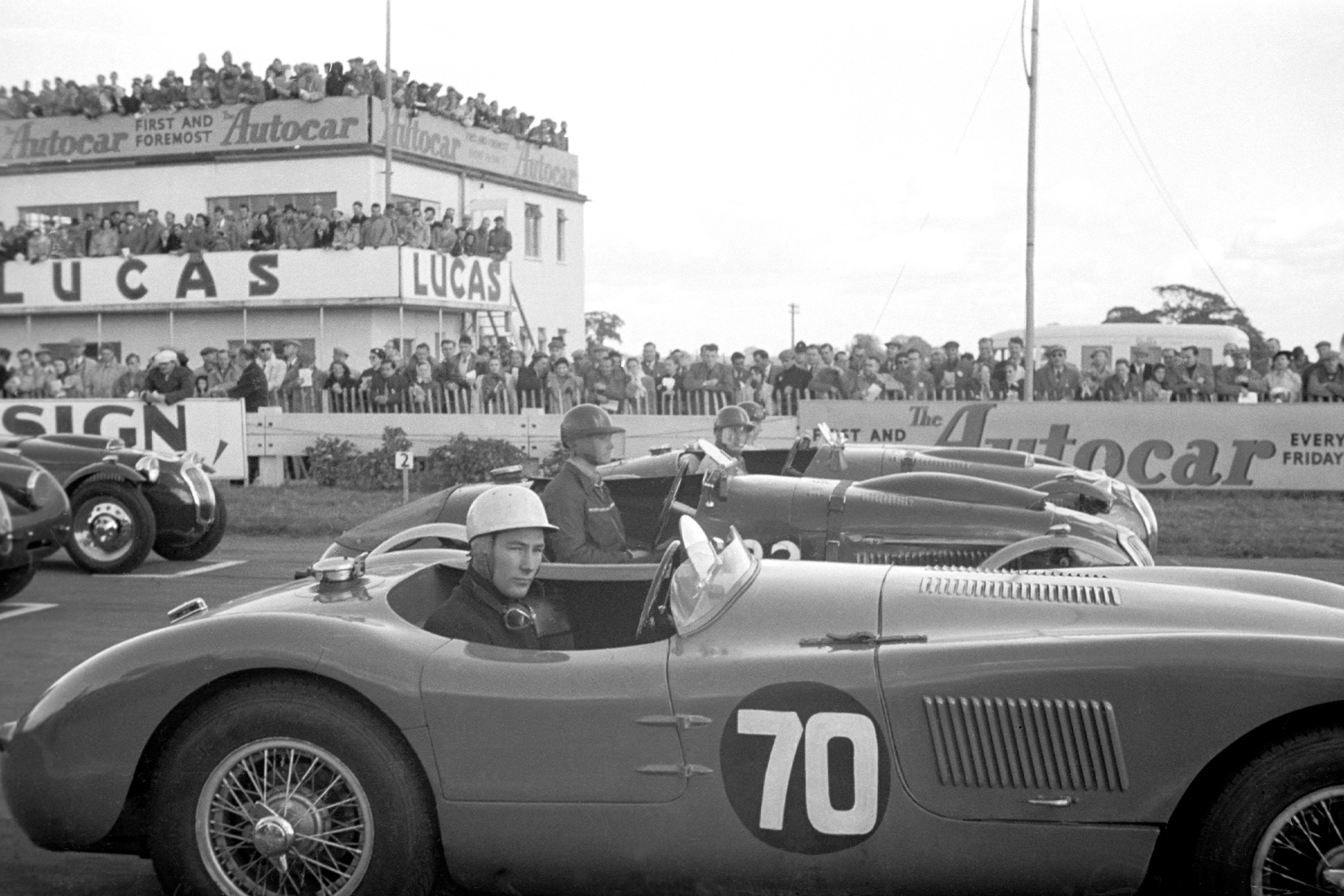 Stirling Moss at the start of the 1951 Goodwood Sports Car Race