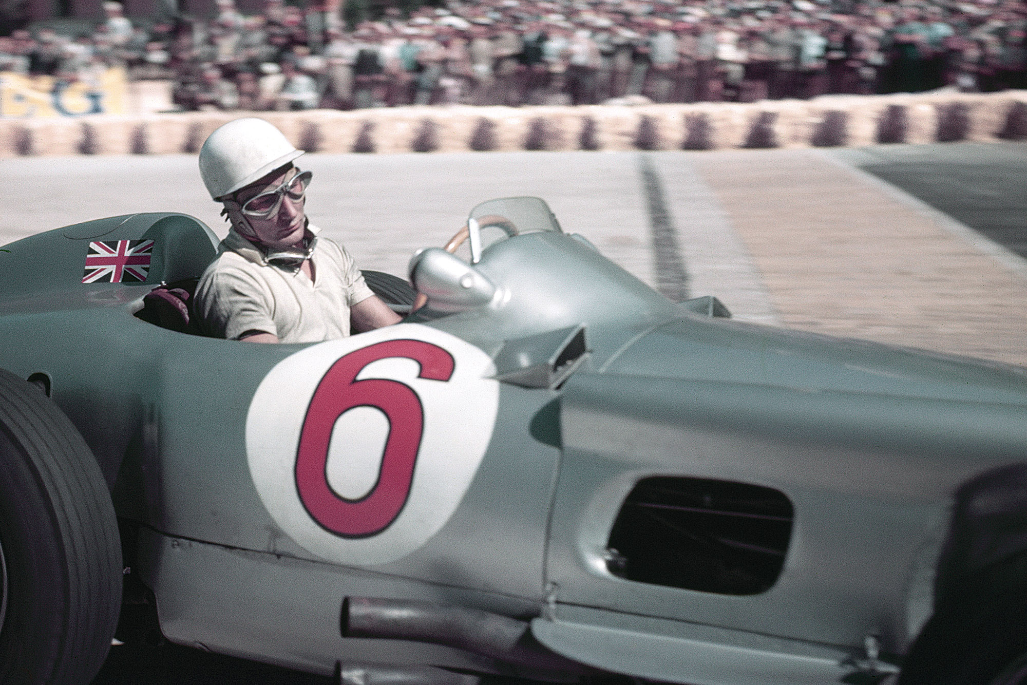 Stirlign Moss at the wheel of his Mercedes W196 at Monaco in 1955
