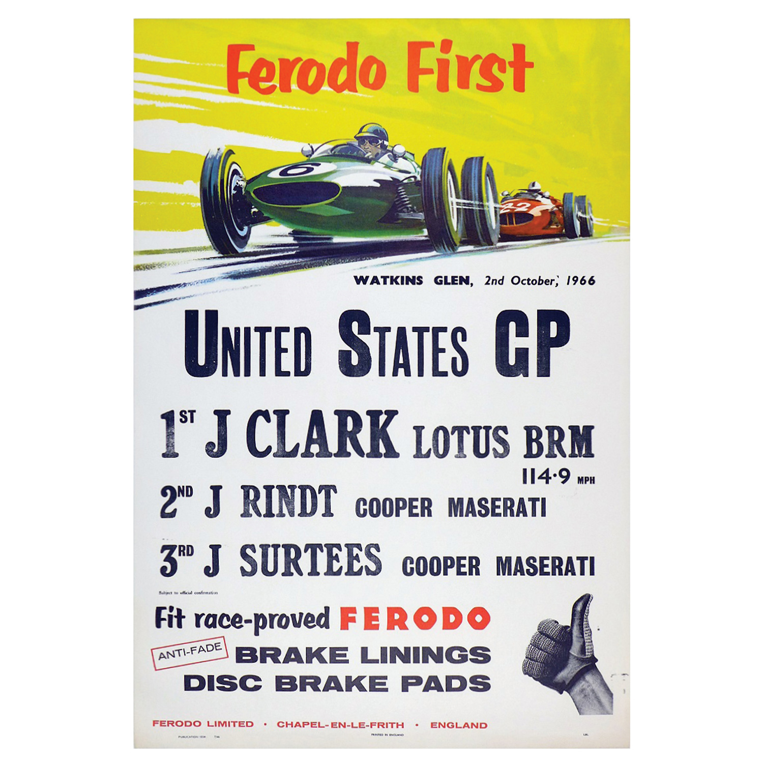 1966 US GP results poster