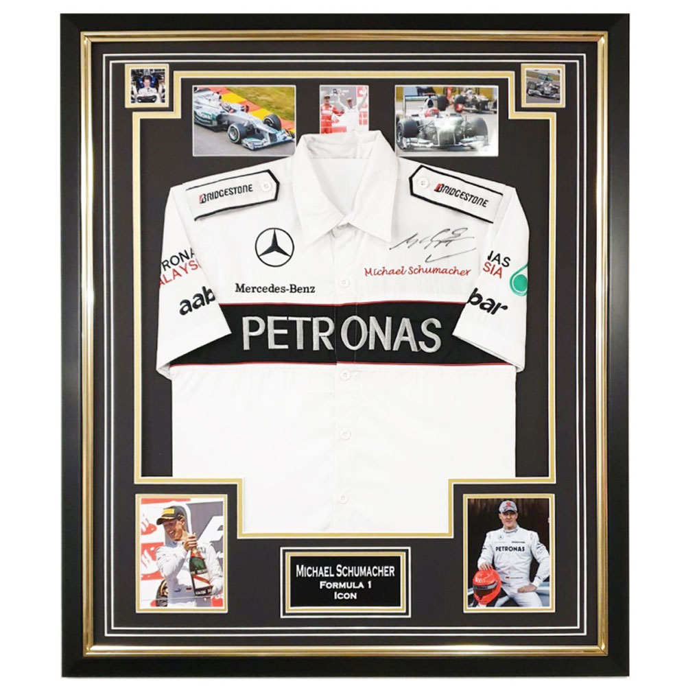Product image for Signed Michael Schumacher Shirt Framed – Formula 1 Icon