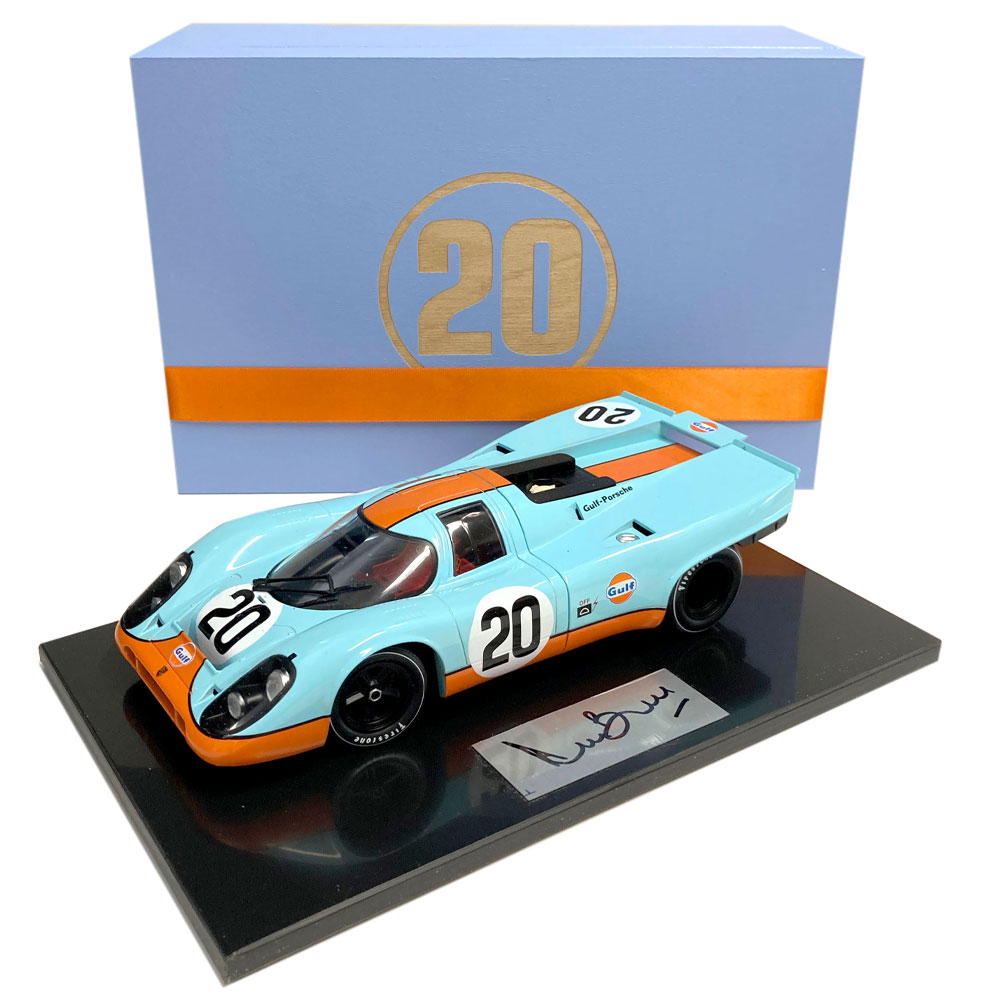 Product image for Boxed 1:18 Gulf Porsche 917 'Steve McQueen', signed Derek Bell