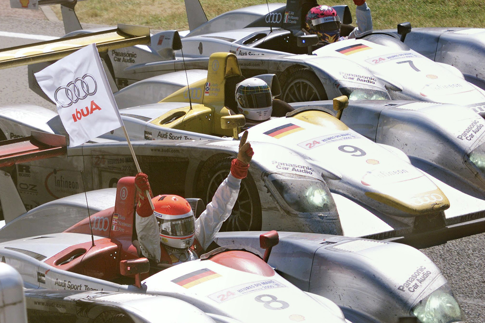 Three Audi R8s after taking the top three places at the 2000 Le Mans 24 Hours