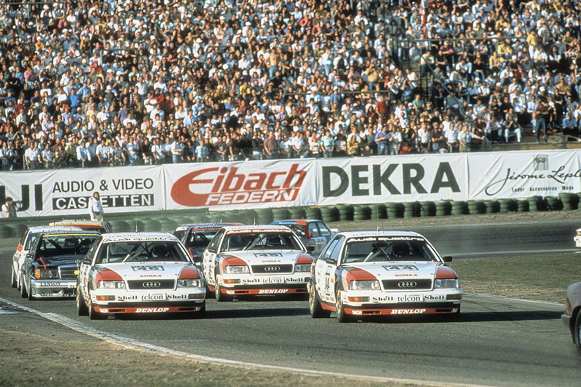 Audi V8 quattros lead the field in a 1990 DTM meeting
