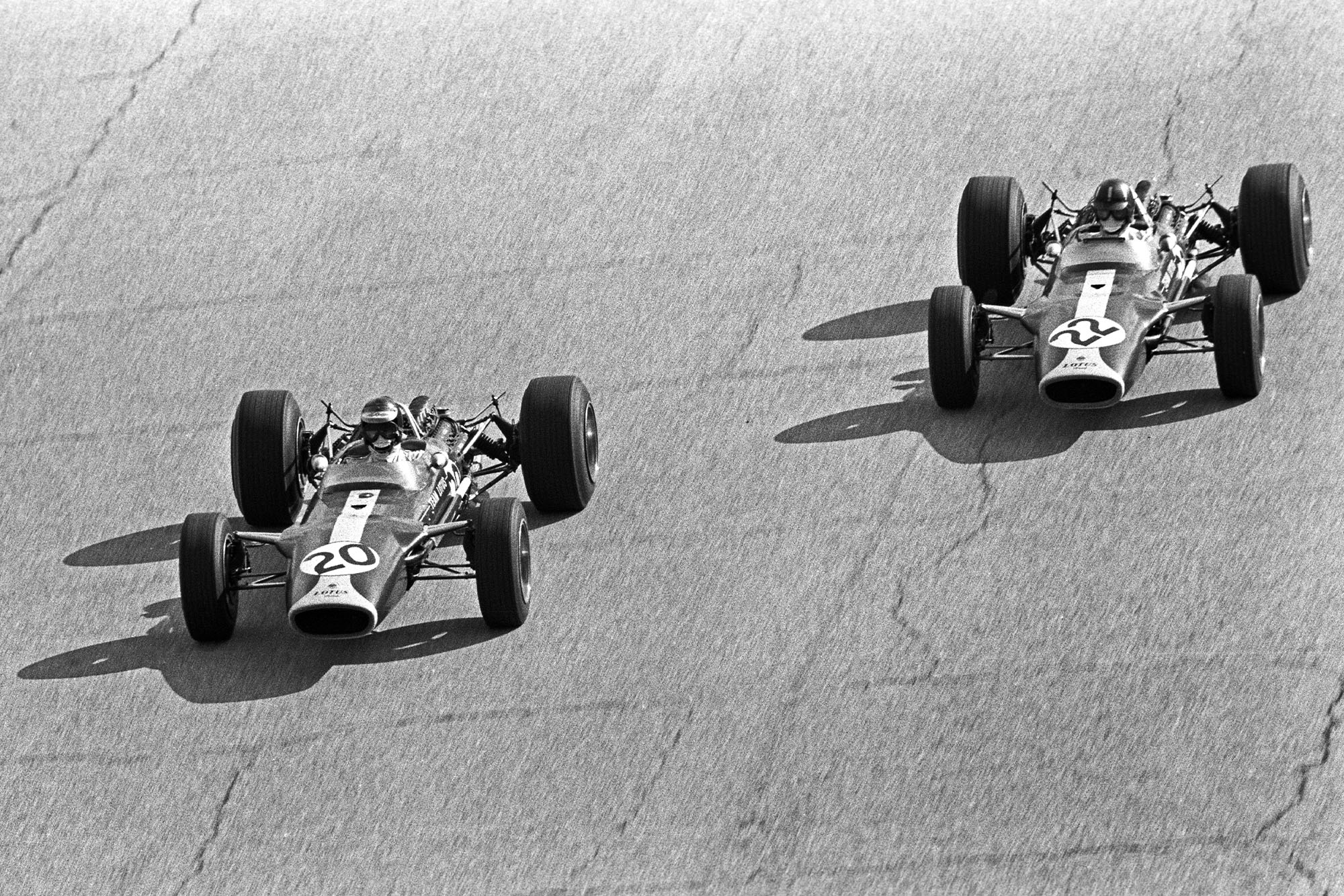 Jim Clark and Graham Hill in the 1967 Italian Grand Prix at Monza