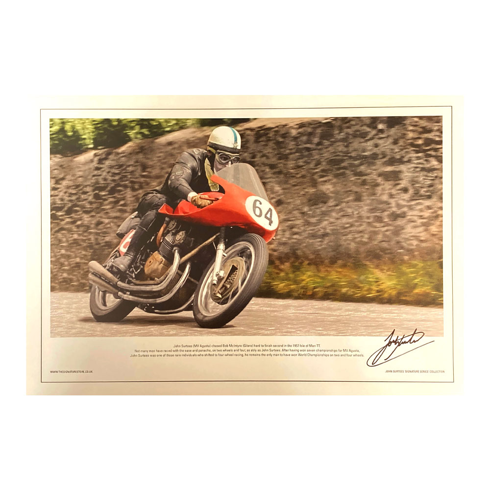 Product image for MV Agusta TT lithograph, signed John Surtees