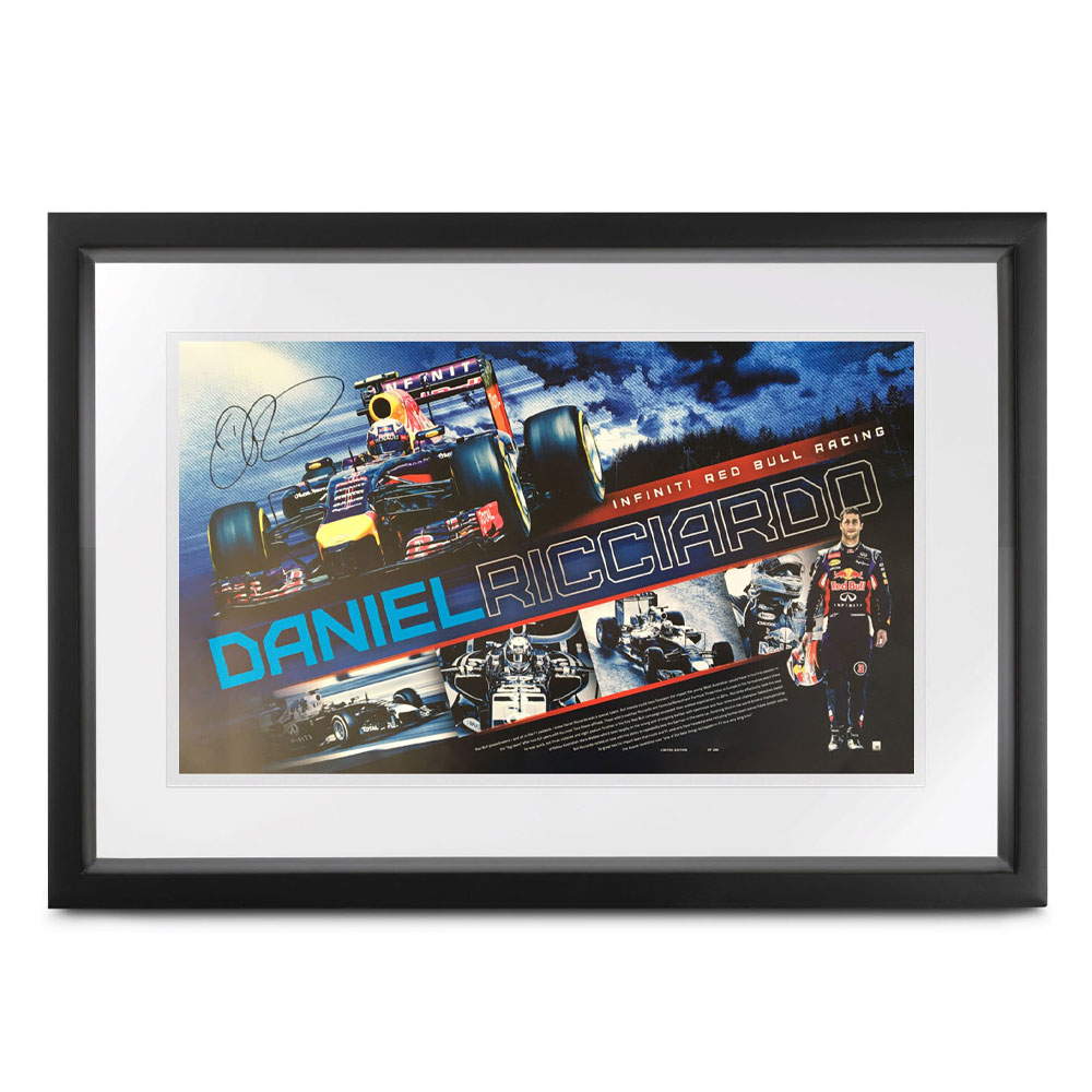 Product image for Daniel Ricciardo signed RedBull poster