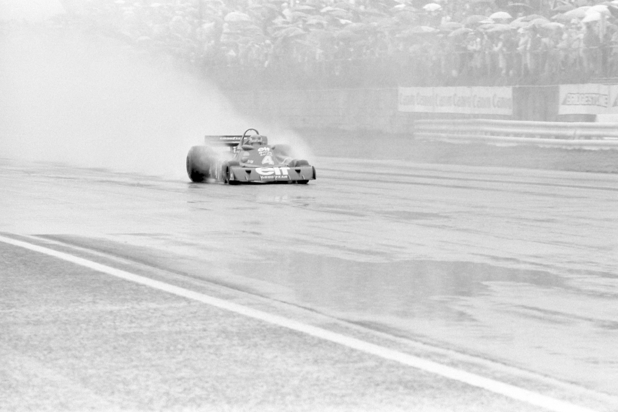 Patrick Depailler and his Tyrrell Ford in the rain at the 1976 Japanese Grand Prix