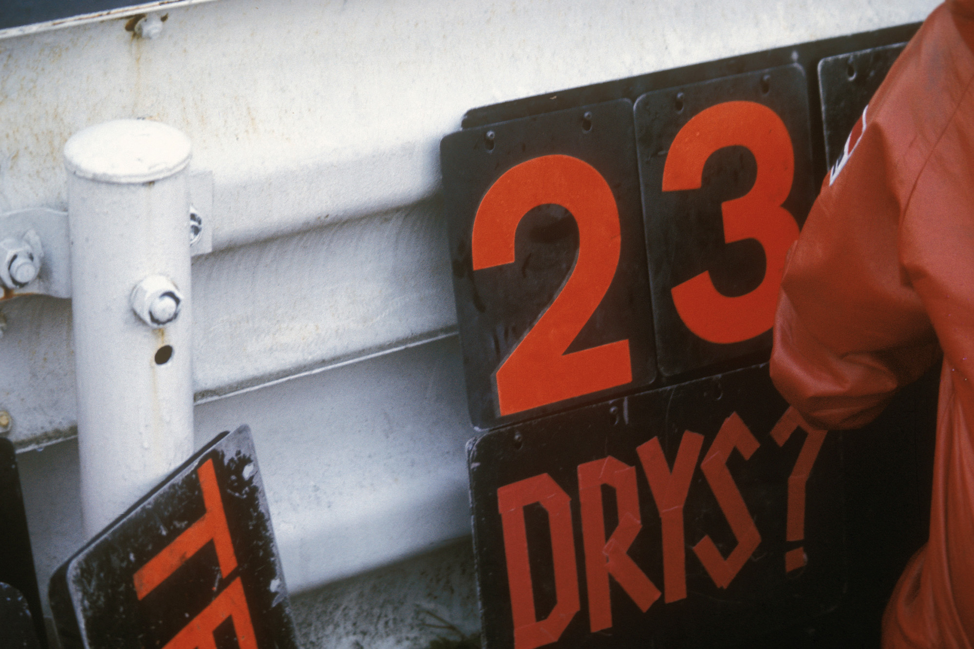 James Hunt's pitboard asking if it is time to stop for dry tyres at the 1976 Japanese Grand Prix