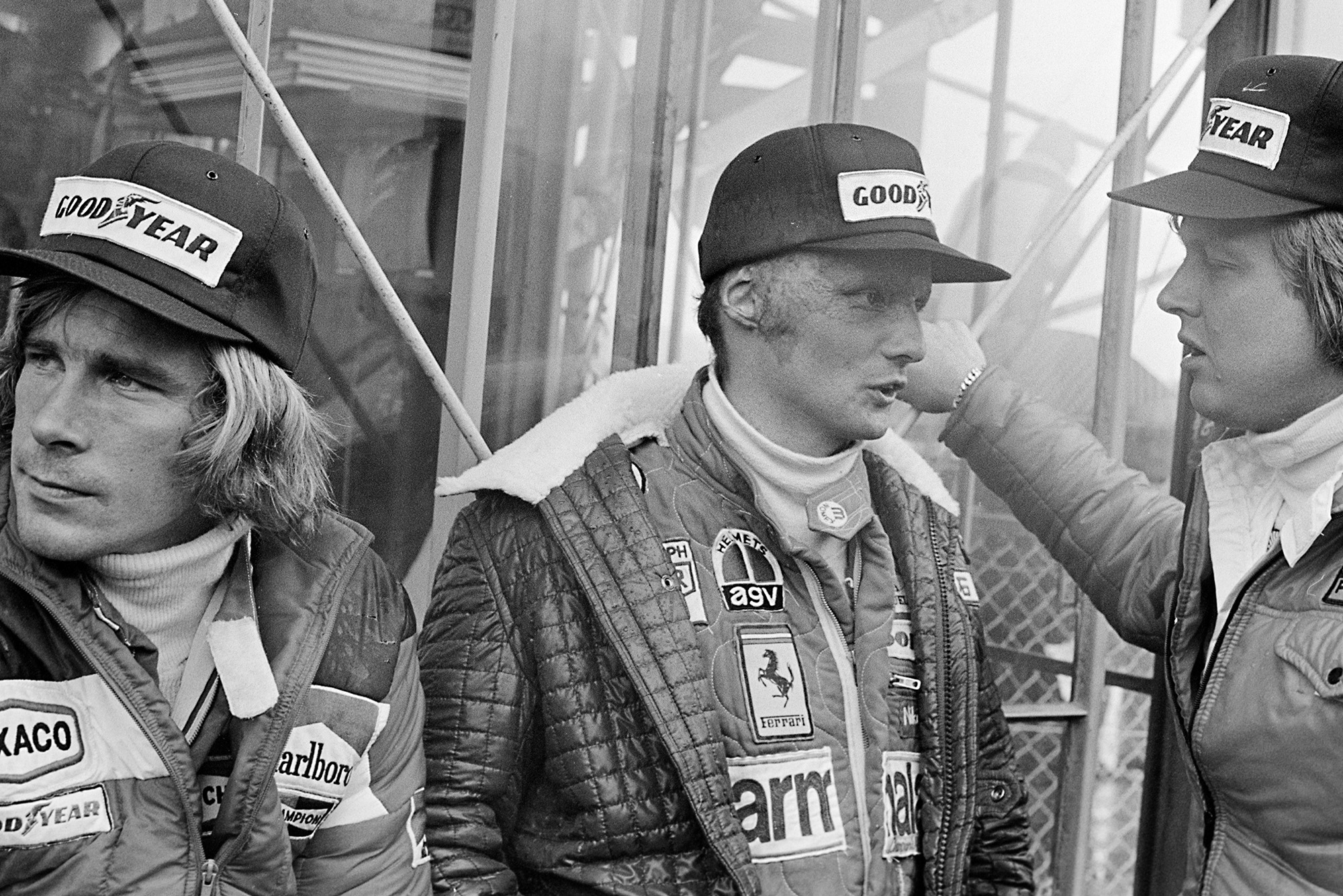 James Hunt Niki Lauda and Ronnie Peterson at Fuji for the 1976 Japanese Grand Prix